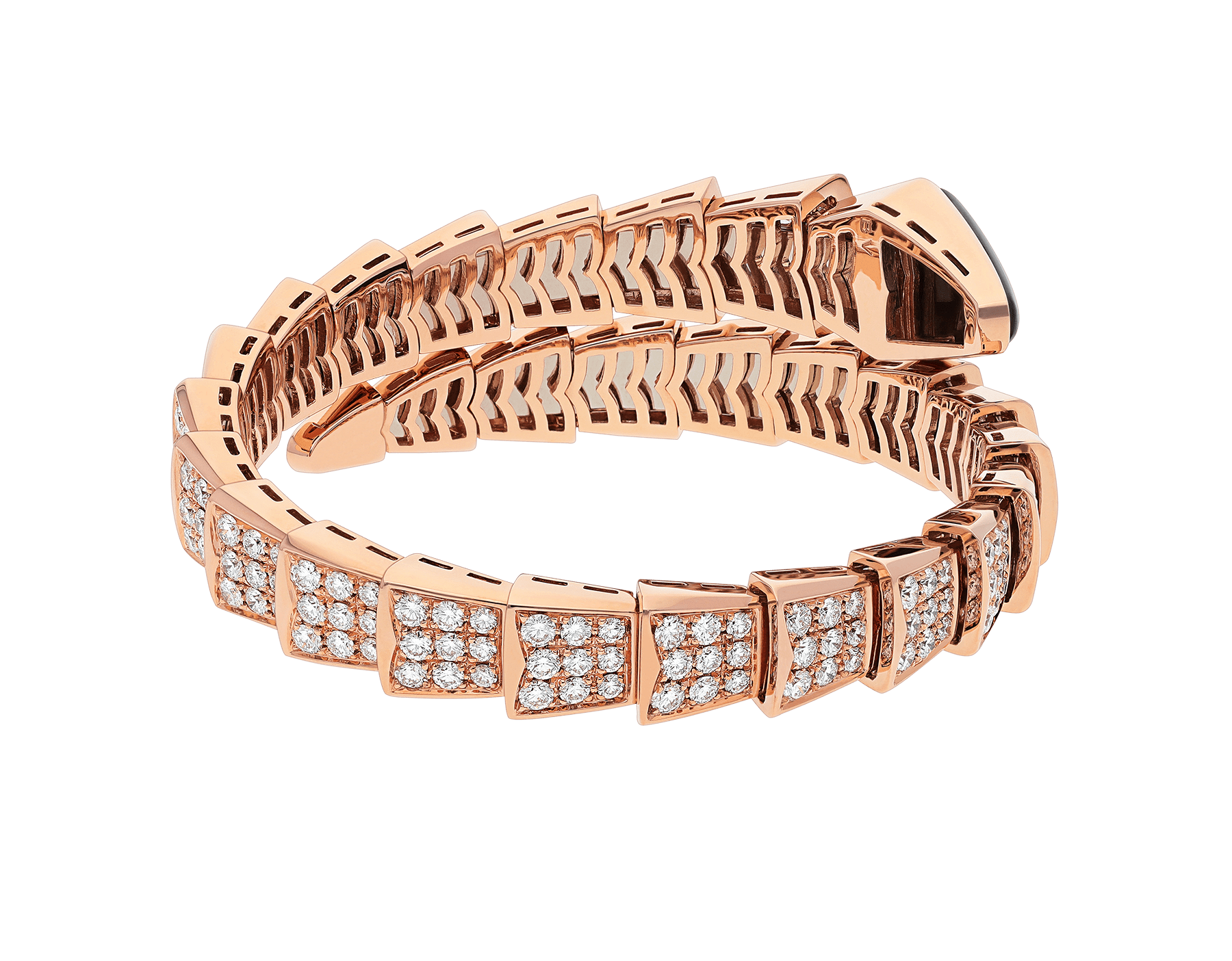 Serpenti one-coil bracelet in 18 kt rose gold, set with full pavé diamonds and an onyx element on the head. BR855196 image 3