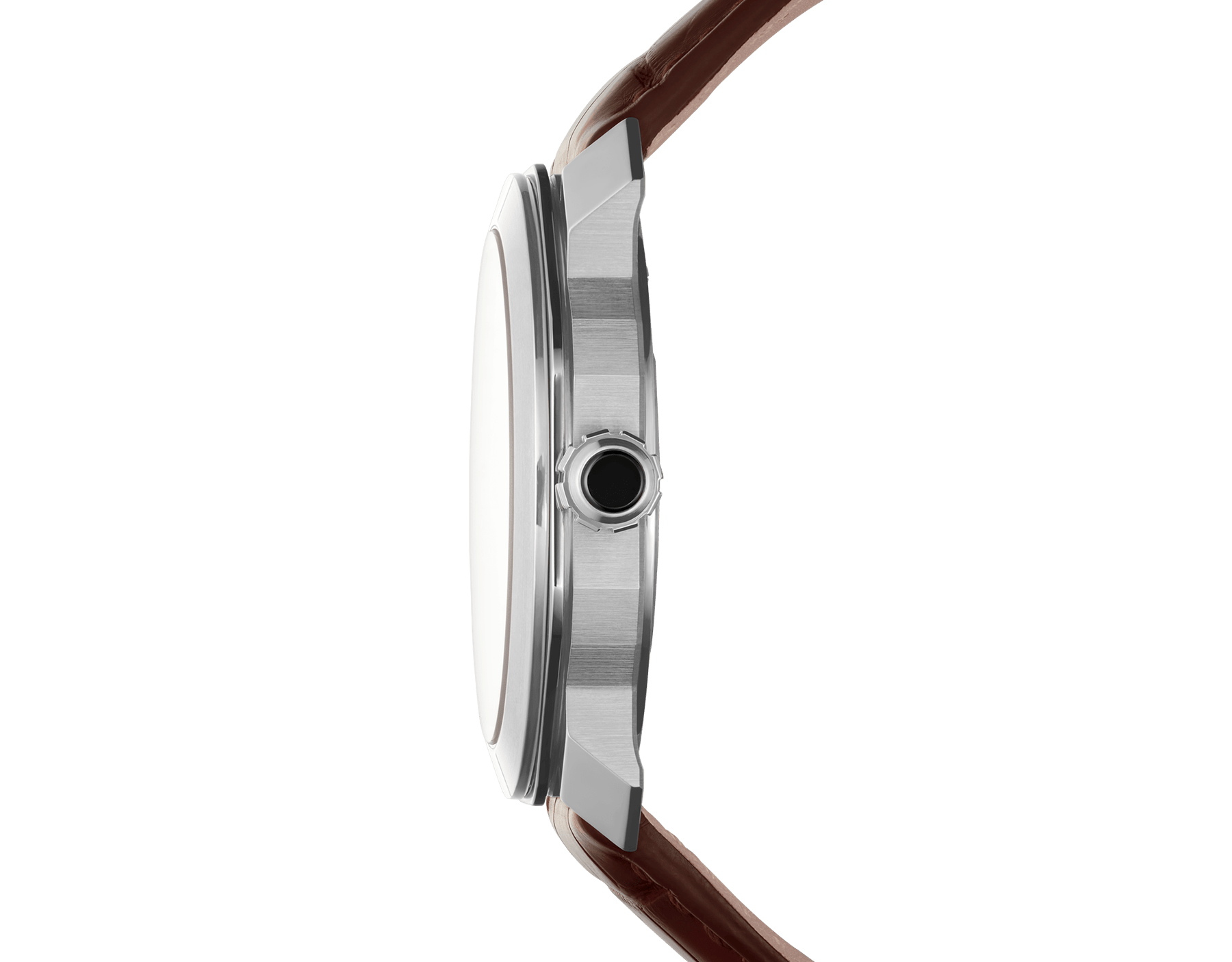 Octo Roma watch with mechanical manufacture movement, automatic winding, stainless steel case, dark brown lacquered dial and brown alligator bracelet. 102705 image 3