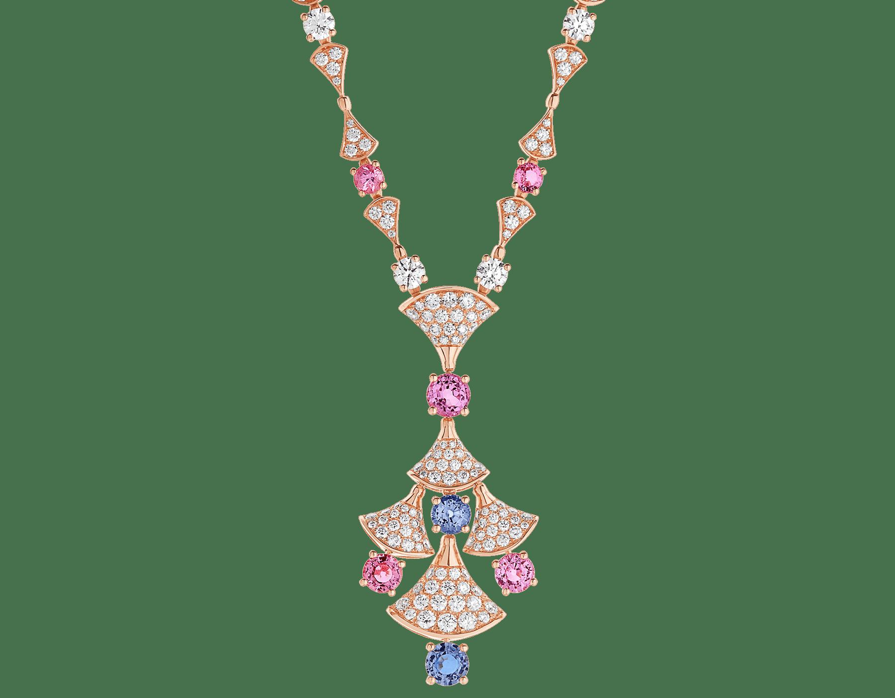 DIVAS' DREAM 18 kt rose gold necklace set with round brilliant-cut diamonds (3.06 ct), brilliant-cut spinels (4.04 ct) and pavé diamonds (3.63 ct) 357942 image 1