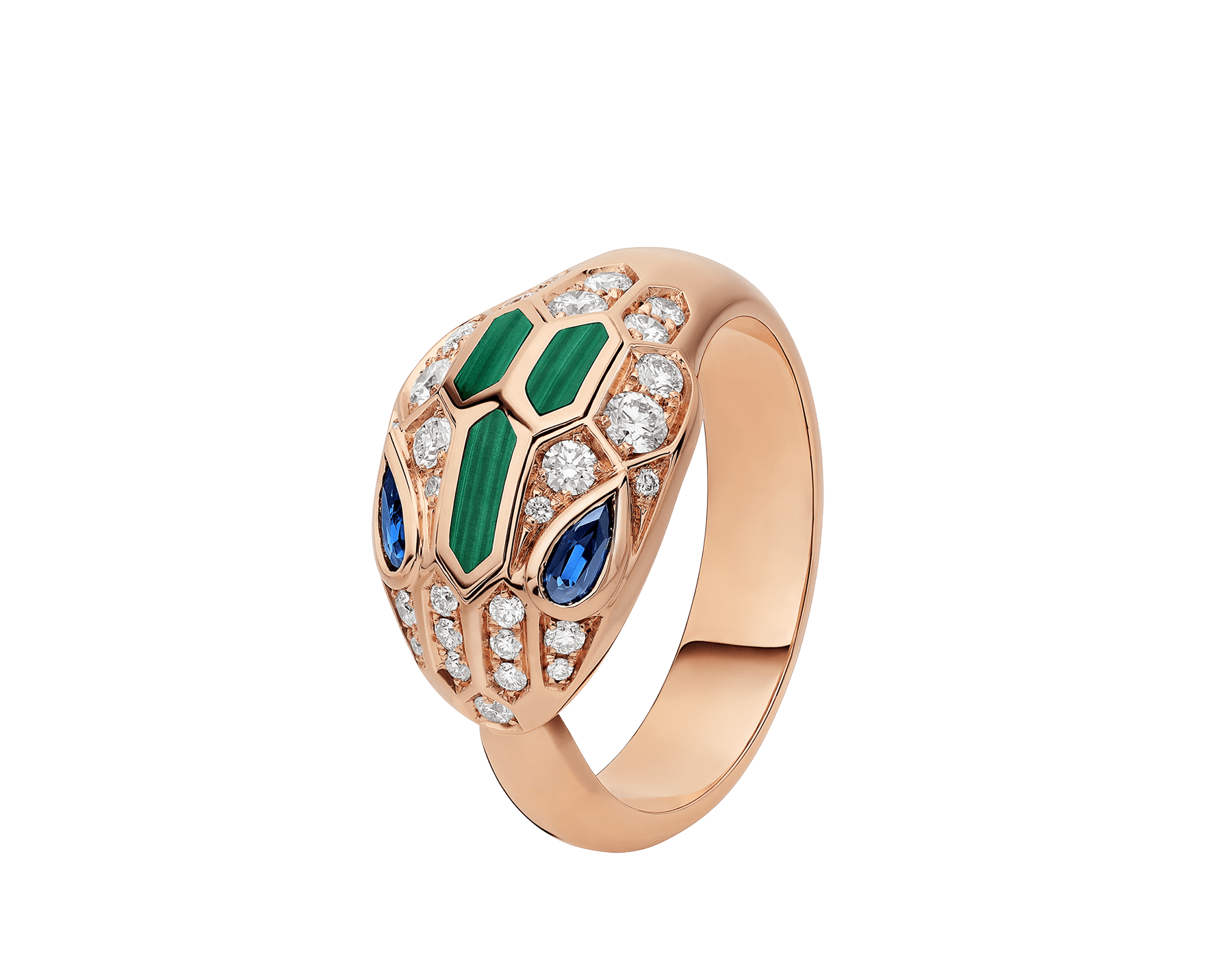 Serpenti 18 kt rose gold ring set with blue sapphire eyes, malachite elements and pavé diamonds. AN858587 image 1