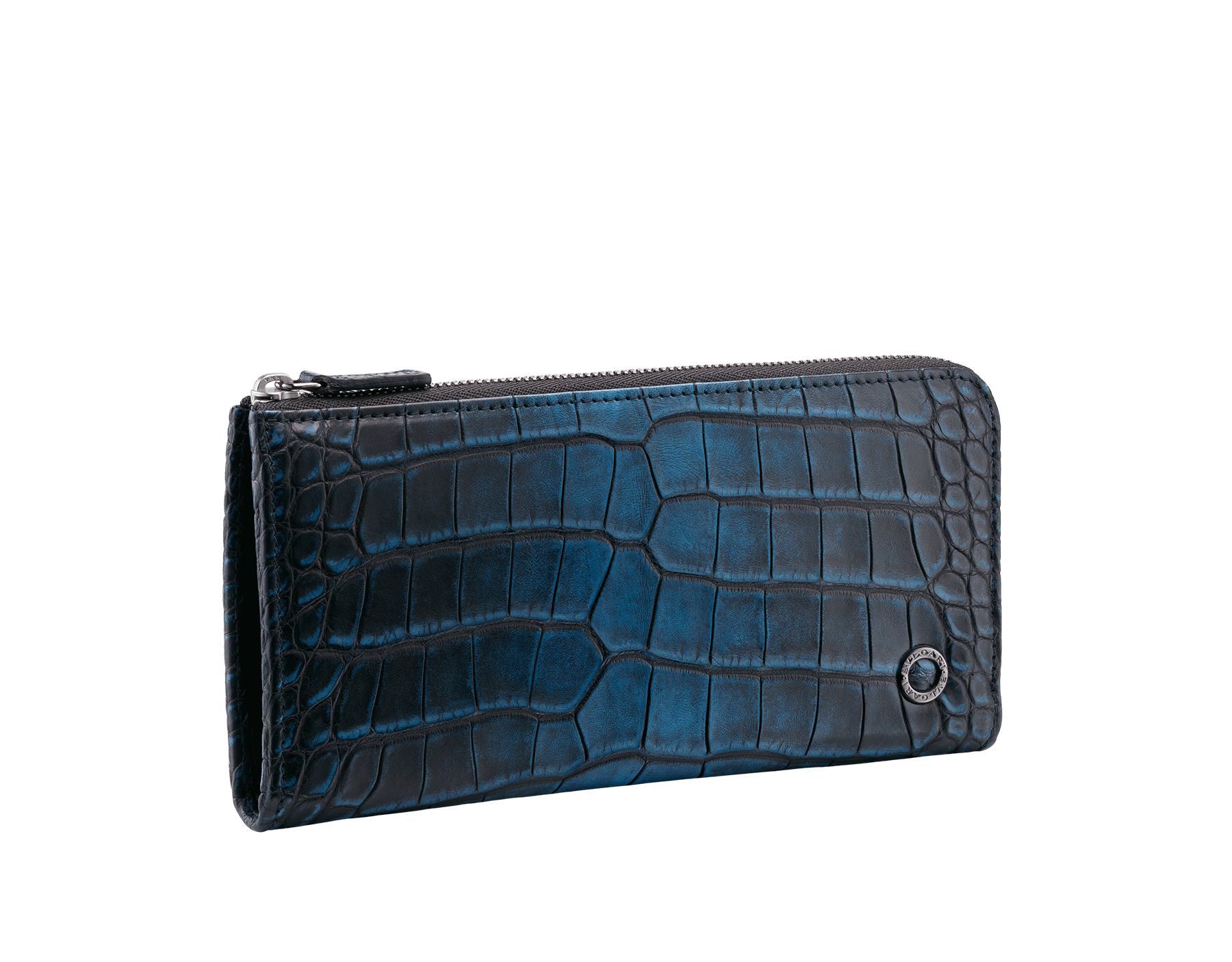 L-shaped zipped wallet in jungle green alligator skin and black smooth calf leather with brass dark ruthenium plated hardware featuring the Bulgari-Bulgari motif. BBM-WLT-M-ZIP-L-HE image 1