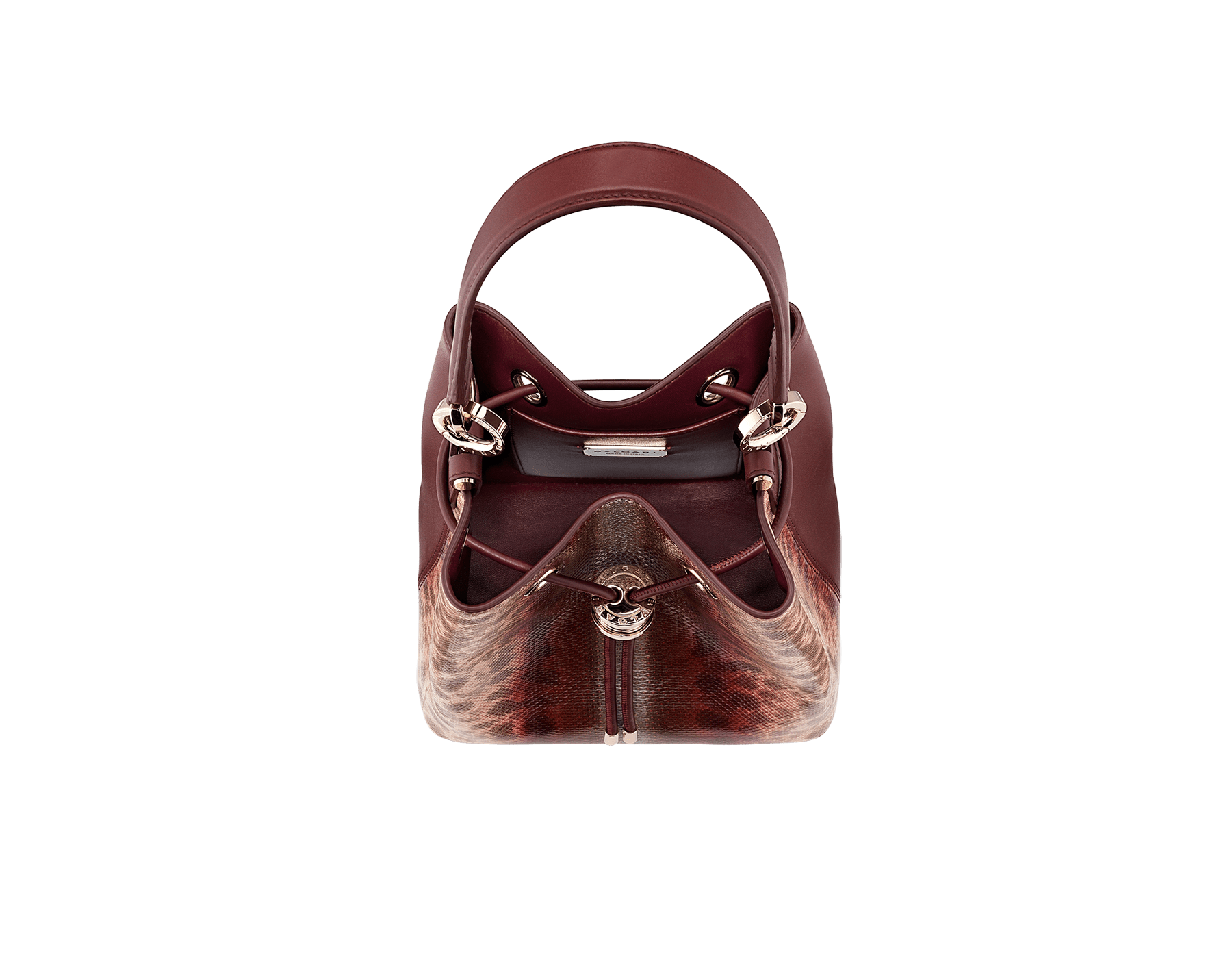 Bucket B.zero1 in rosa di francia Sahara karung skin and Roman garnet smooth calf leather with a Roman garnet nappa interior. Hardware in light gold plated brass, featuring B.zero1 décor. 289002 image 4