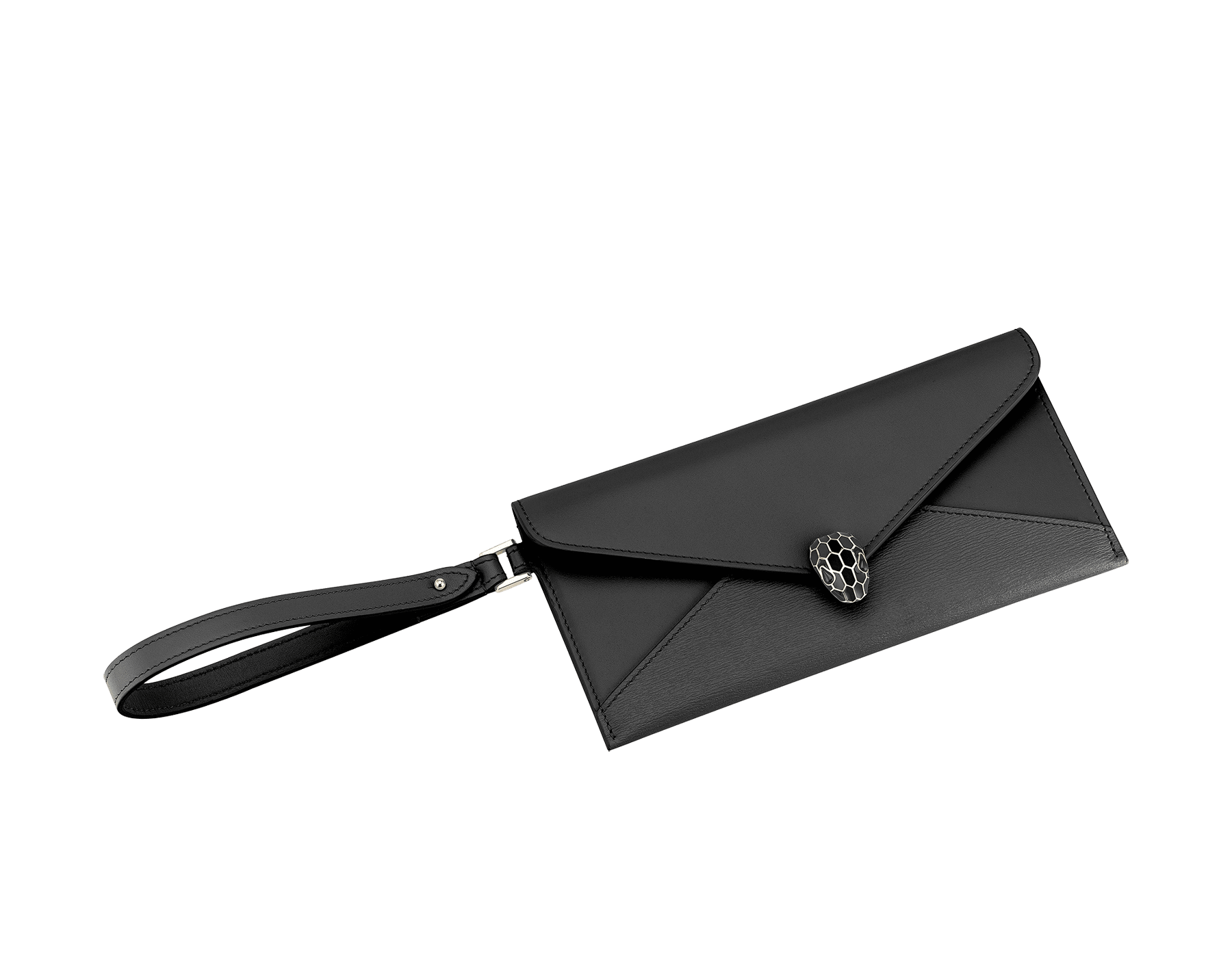 Serpenti Forever envelope pouch in black goatskin and black calf leather. Iconic snake head stud closure in black enamel, with black onyx eyes. 289091 image 1