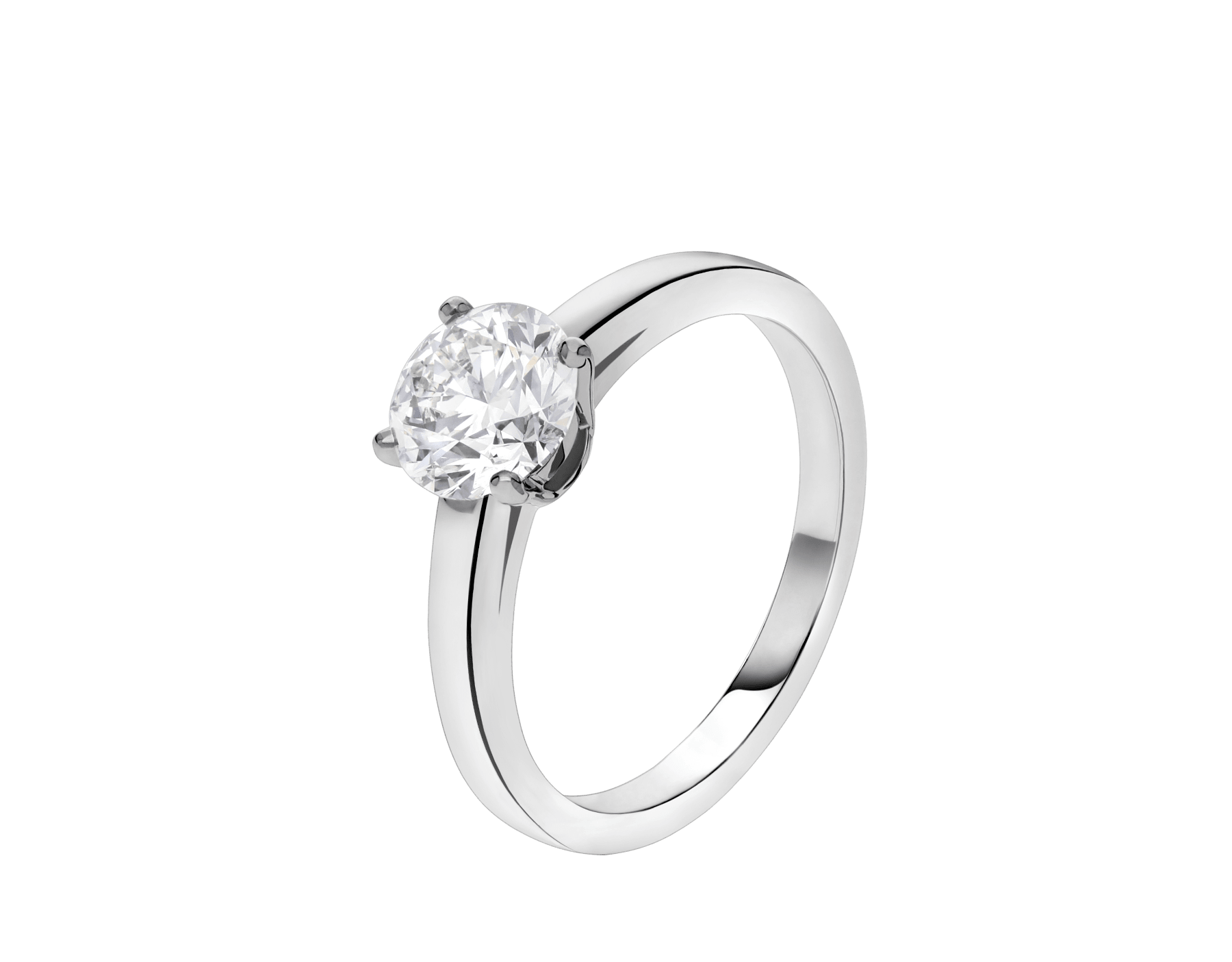 Griffe solitaire ring in platinum with round brilliant cut diamond AN201215 image 1