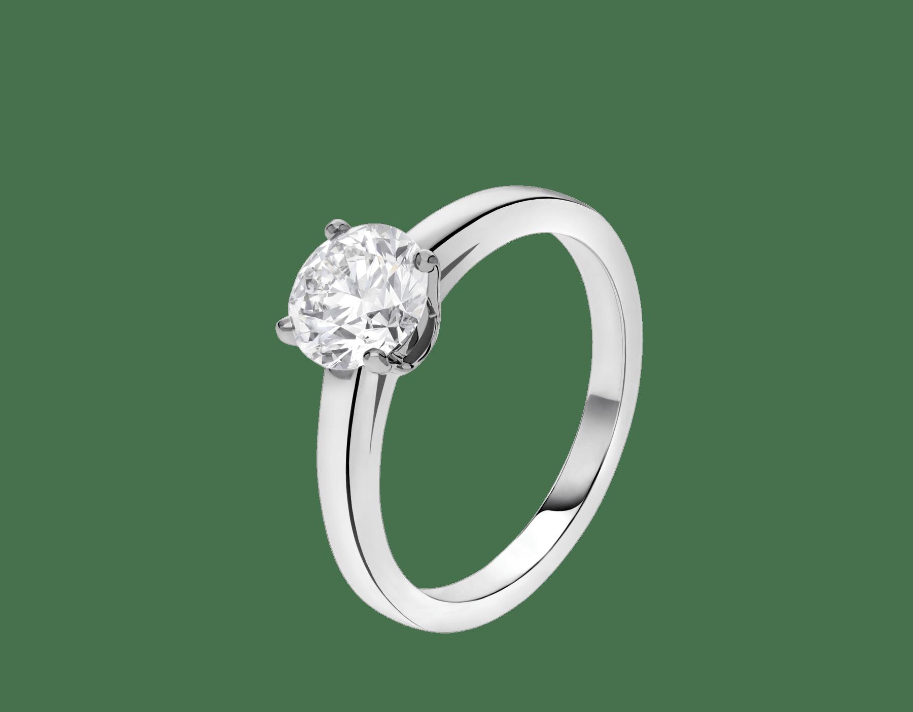 Solitaire Griffe en platine serti d'un diamant rond taille brillant AN201215 image 1
