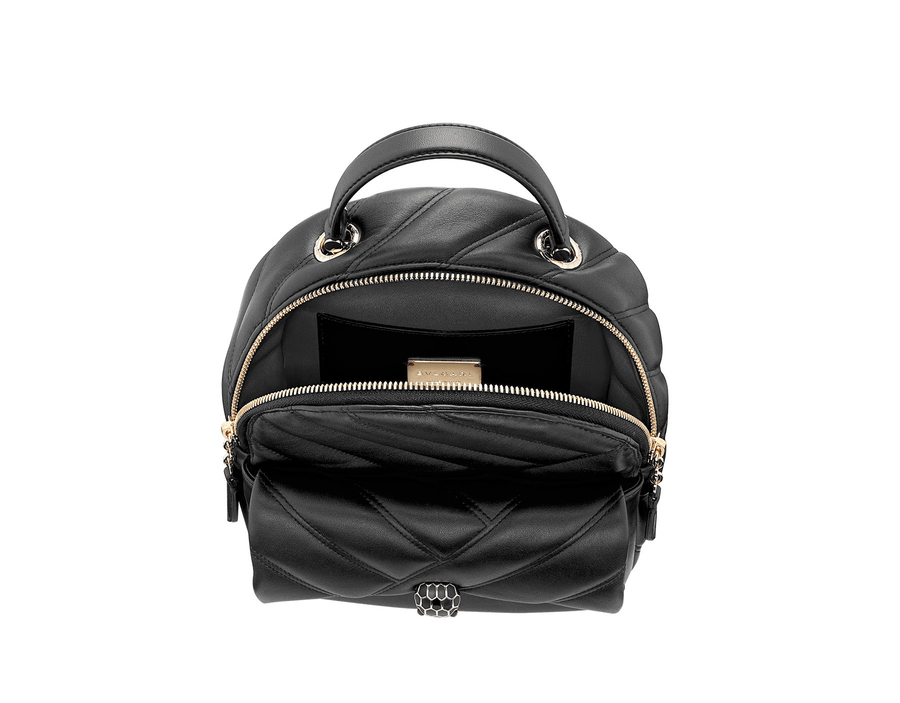 Serpenti Cabochon backpack in soft quilted white agate calf leather, with a graphic motif. Light gold plated brass tempting snakehead closure in black and white agate enamel and black onyx eyes. 1009-NSM image 4