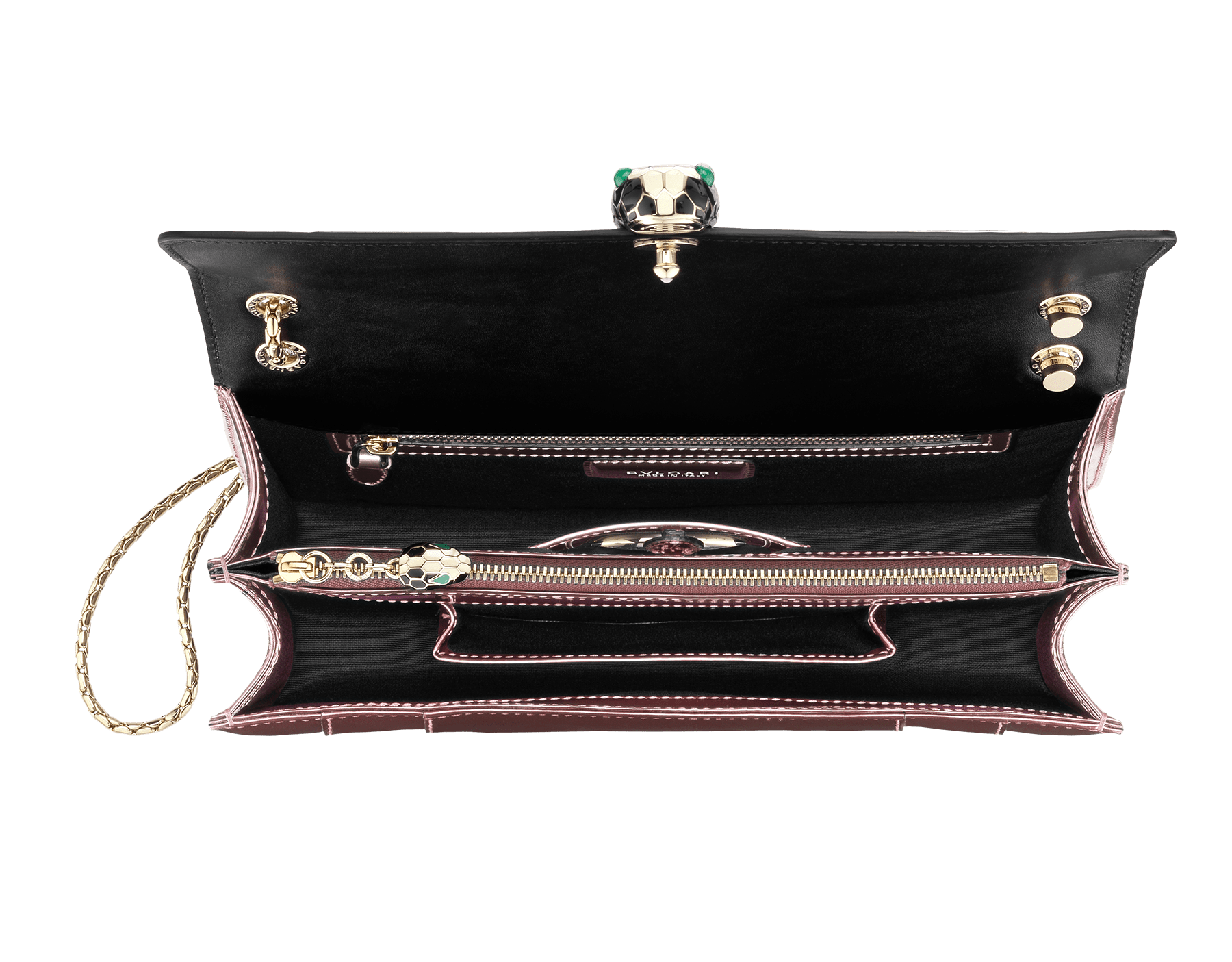 Flap cover bag Serpenti Forever in rose quartz brushed metallic calf leather. Brass light gold plated snake head closure in black and white enamel, with eyes in green malachite. 284803 image 2