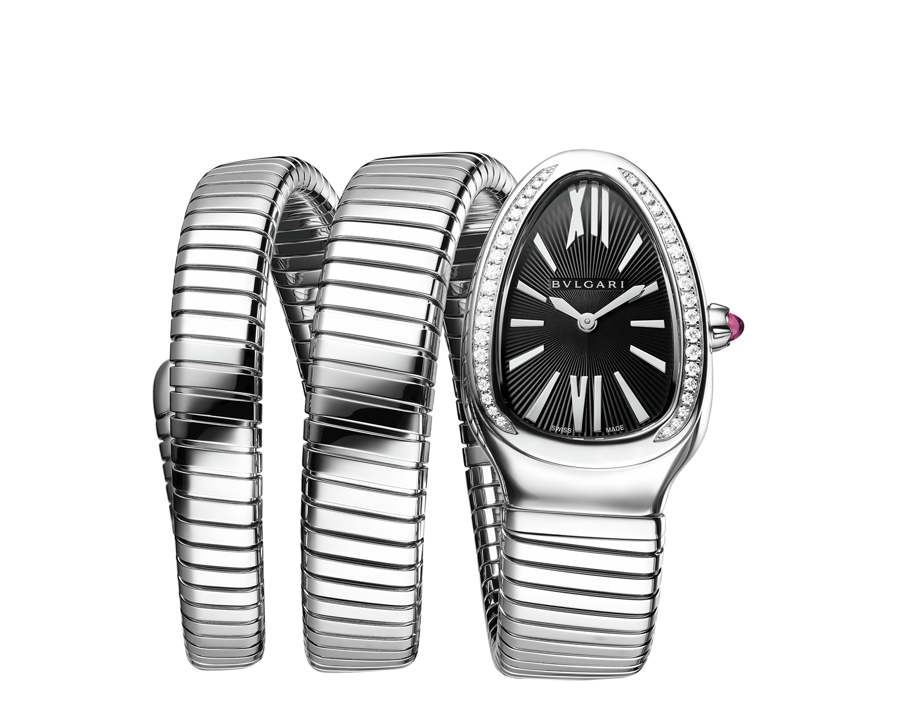 Serpenti Tubogas double spiral watch with stainless steel case and bracelet, bezel set with brilliant-cut diamonds and black dial with guilloché soleil treatment. Water-resistant up to 30 meters. Large size 103433 image 1