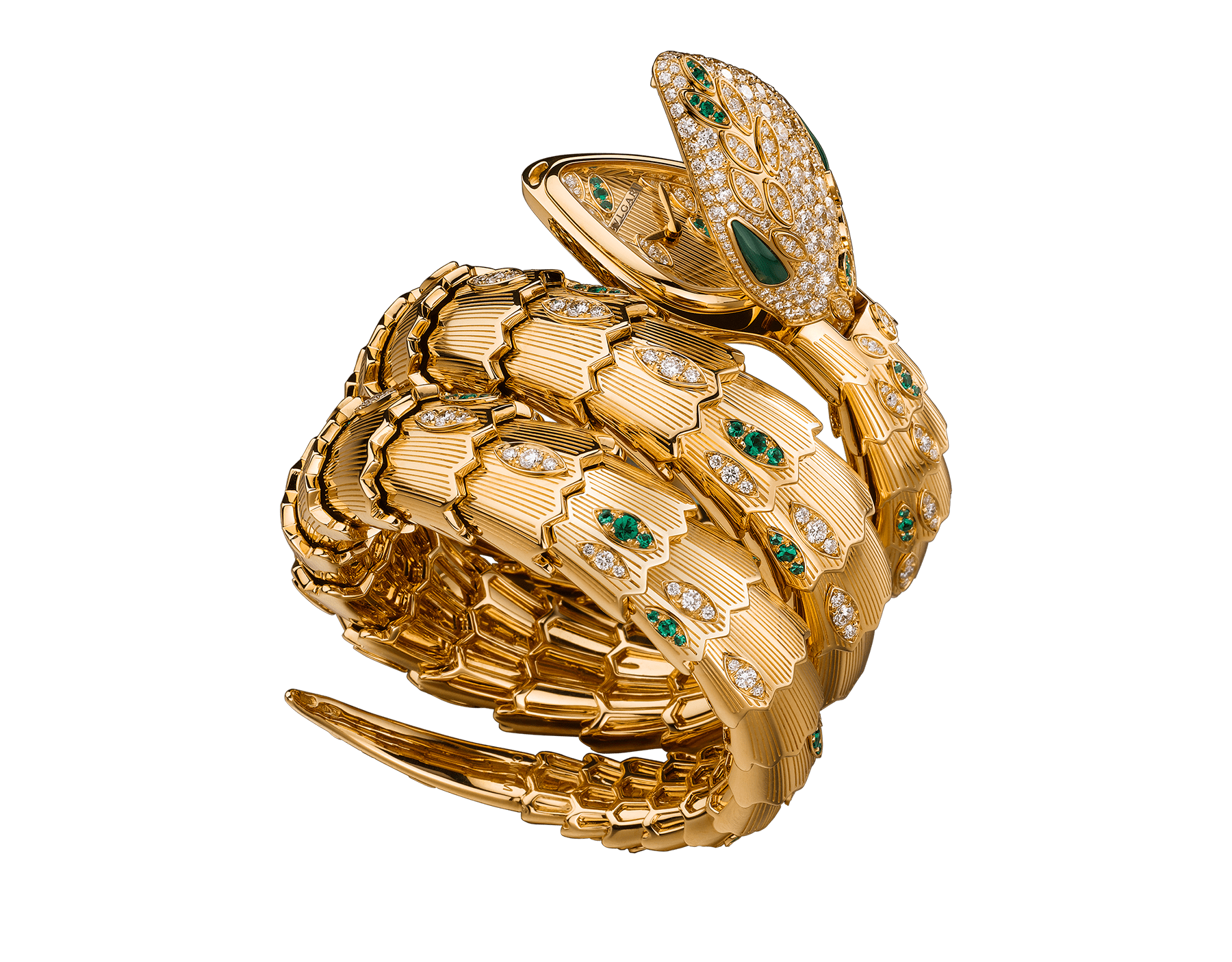 Serpenti Secret Watch with 18 kt yellow gold head set with brilliant cut diamonds, brilliant cut emeralds and malachite eyes, 18 kt yellow gold case, 18 kt yellow gold dial and double spiral bracelet, both set with brilliant cut diamonds and brilliant cut emeralds. 101999 image 1