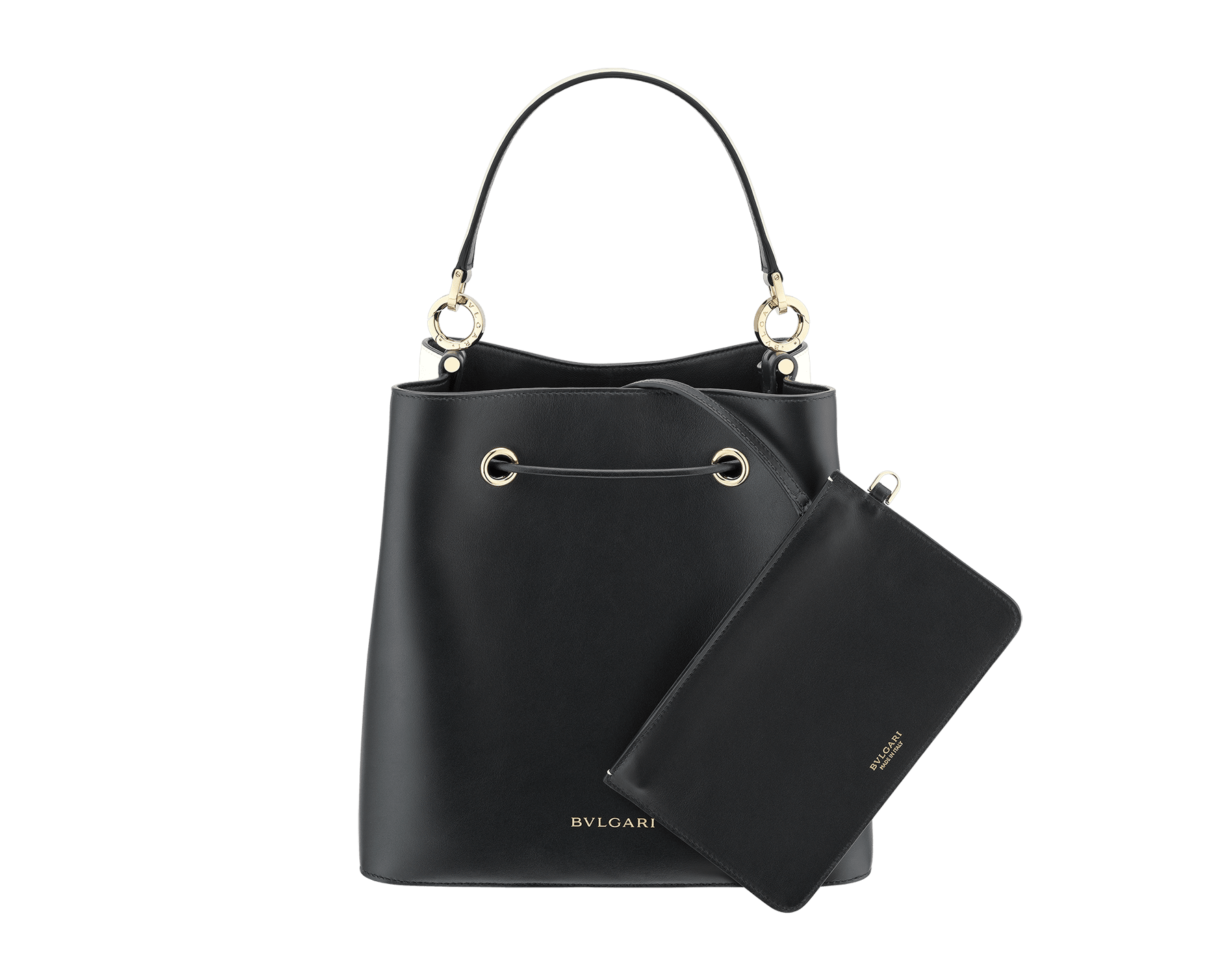 """""""B.zero1"""" bucket bag in black smooth calf leather and black nappa leather internal lining. Hardware in light gold plated brass, featuring a B.zero1 décor. 975-BCL image 3"""