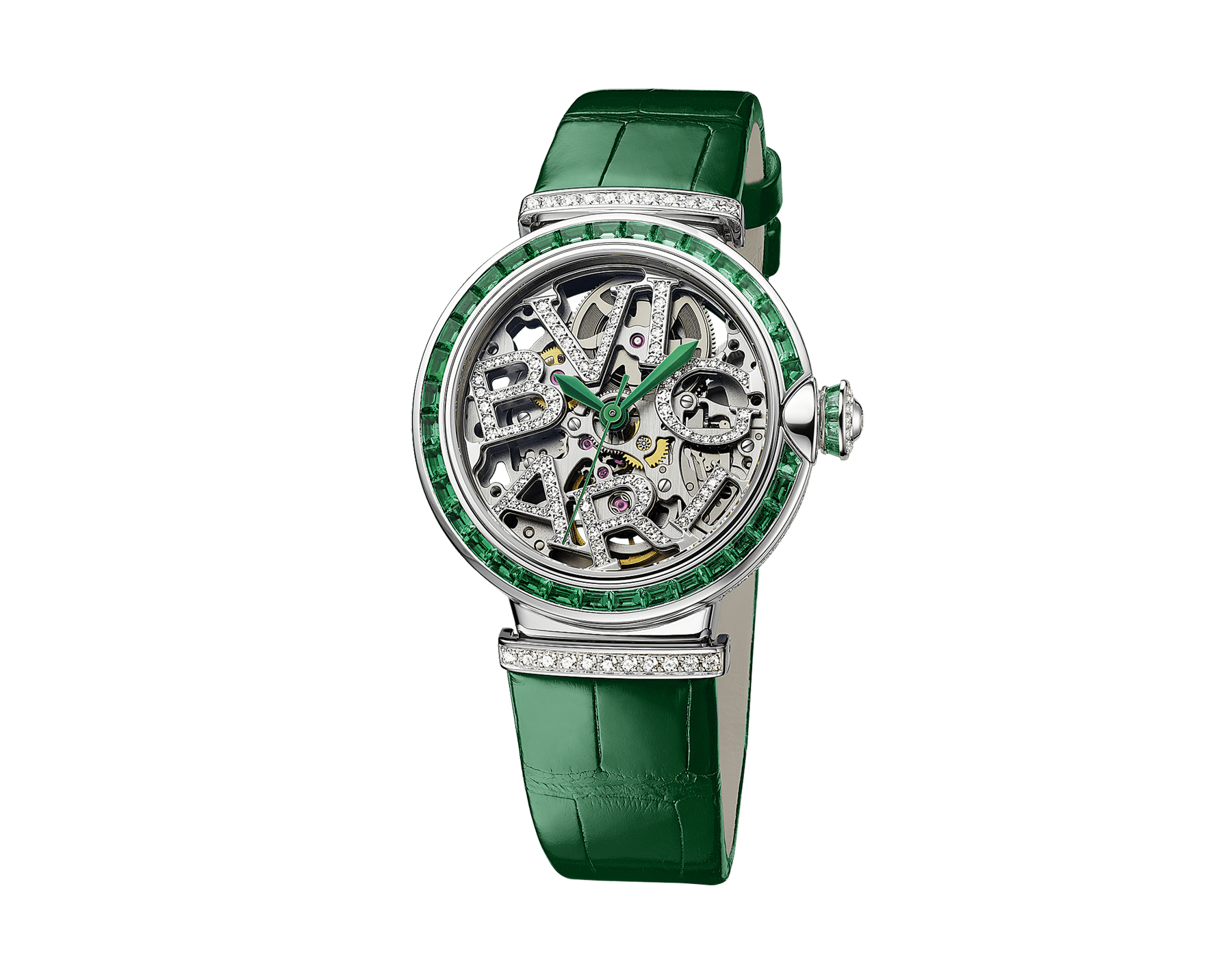 LVCEA Skeleton watch with mechanical movement, automatic winding, 18 kt white gold case set with baguette-cut emeralds, 18 kt white gold openwork BVLGARI logo dial set with brilliant-cut diamonds, green alligator bracelet and 18 kt white gold links set with brilliant-cut diamonds 103033 image 2