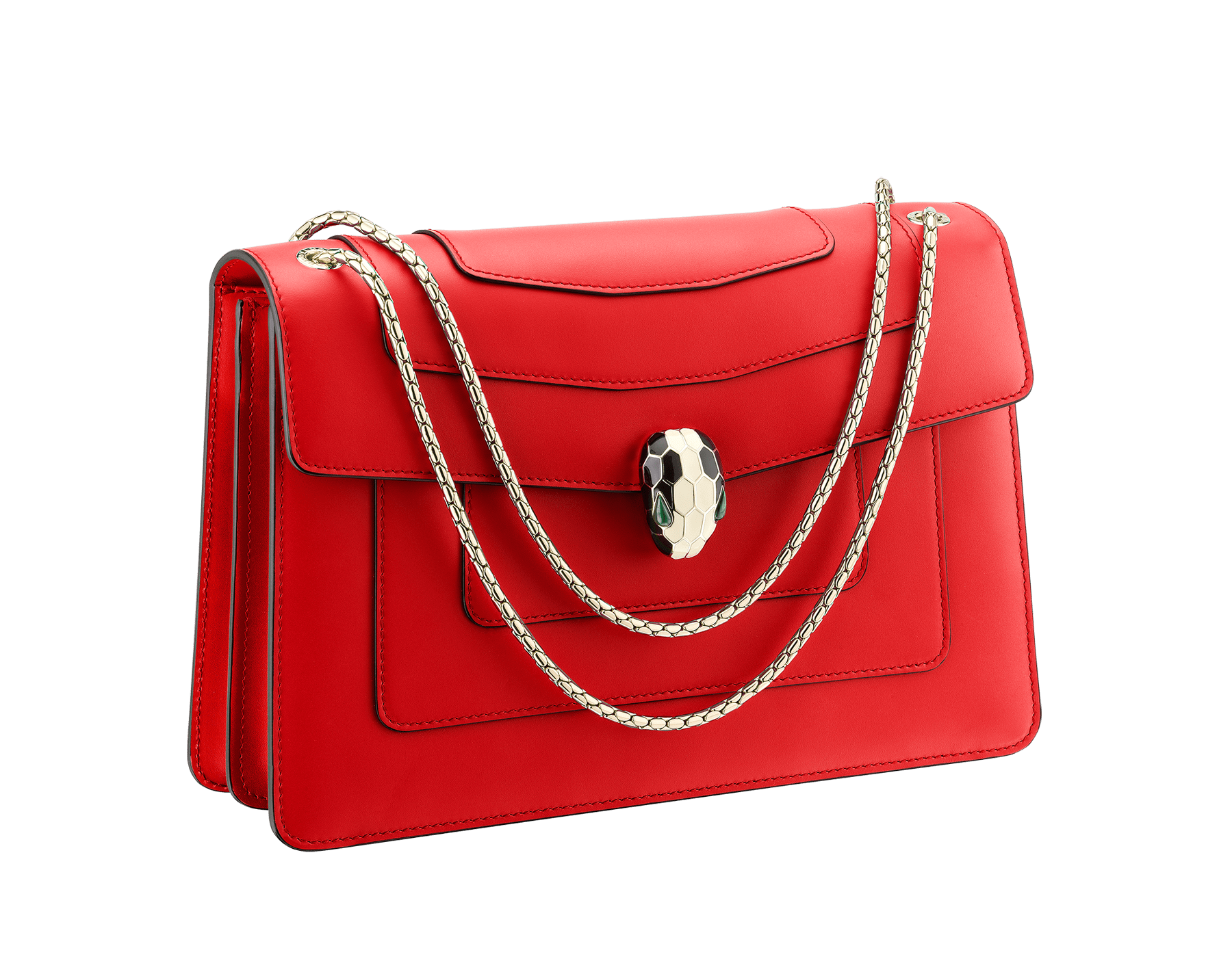 """Serpenti Forever "" shoulder bag in carmine jasper calf leather. Iconic snakehead closure in light gold plated brass enriched with black and white enamel and green malachite eyes 287033 image 2"