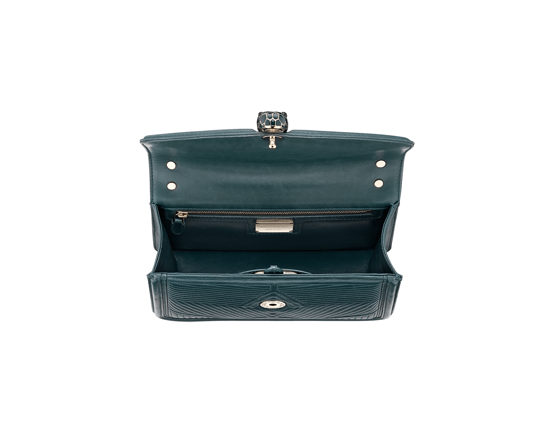 Serpenti Diamond Blast shoulder bag in forest emerald quilted nappa leather body and forest emerald calf leather frames. Snakehead closure in light gold plated brass decorated with forest emerald and black enamel, and black onyx eyes. 287850 image 4