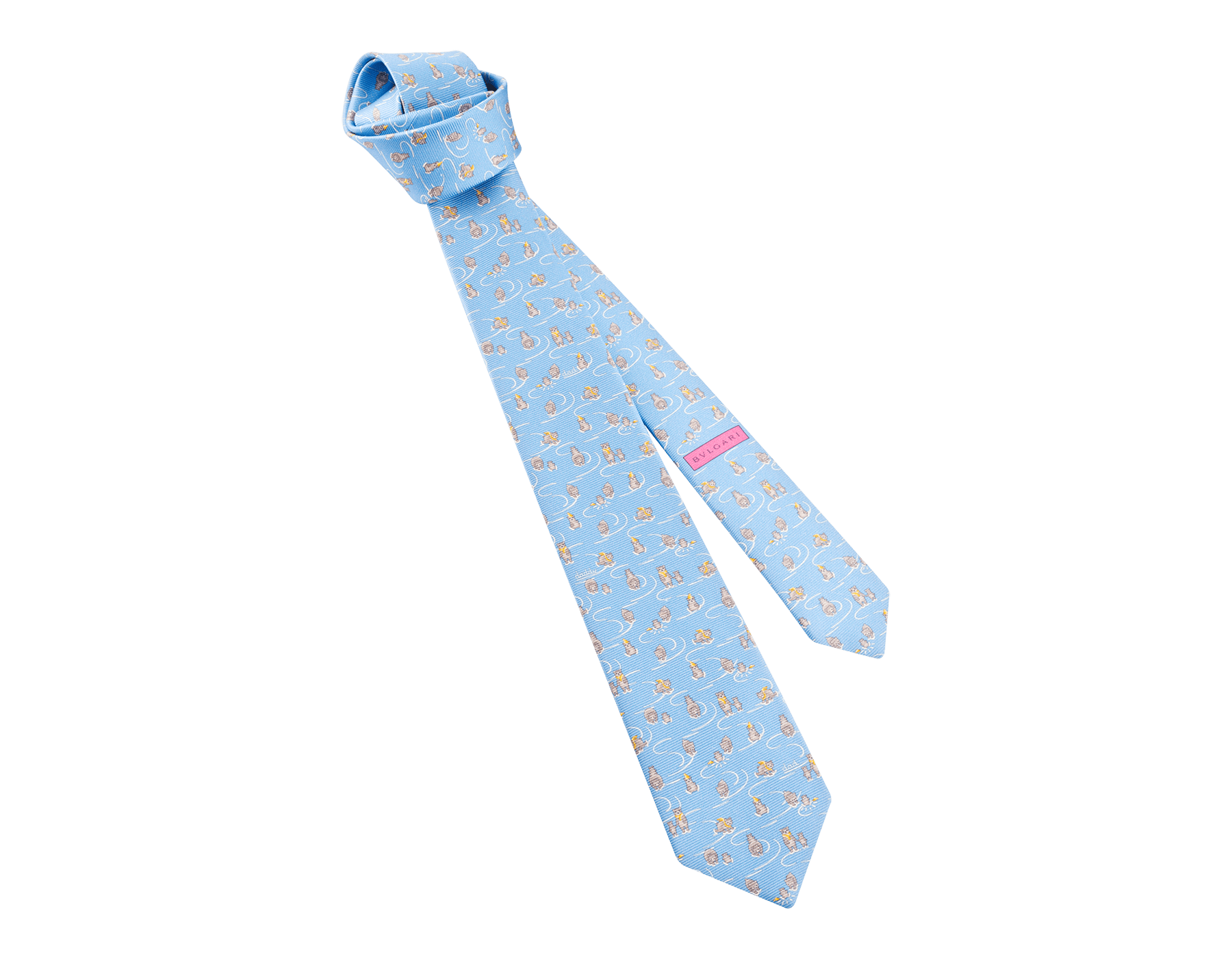 ライトブルーのダディークール セブンフォールドネクタイ。上質なサリオーネプリントシルク製。 244345 image 1