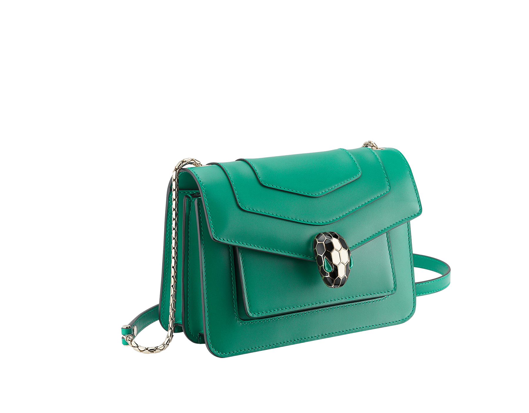 """Serpenti Forever"" crossbody bag in emerald green calf leather. Iconic snake head closure in light gold-plated brass enhanced with black and white agate enamel and green malachite eyes. 1082-CLa image 2"