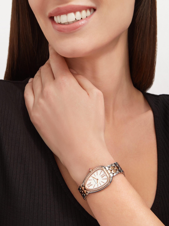 Serpenti Seduttori watch with stainless steel case, 18 kt rose gold bezel set with diamonds, white dial, and 18 kt rose gold and stainless steel bracelet 103274 image 4