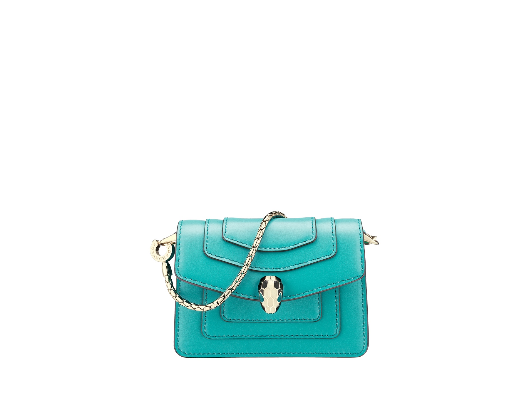 Bag charm Serpenti Forever miniature in arctic jade calf leather and red nappa lining. Iconic brass light gold plated snakehead stud closure enameled in black and white agate and finished with green enamel eyes. 289254 image 1