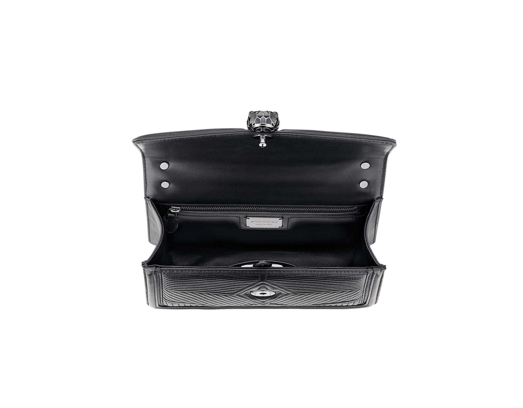 """""""Serpenti Diamond Blast"""" shoulder bag in crystal rose quilted nappa leather body and crystal rose calf leather frames. Iconic snakehead closure in light gold plated brass enriched with black and crystal rose enamel and black onyx eyes 922-FQDa image 4"""