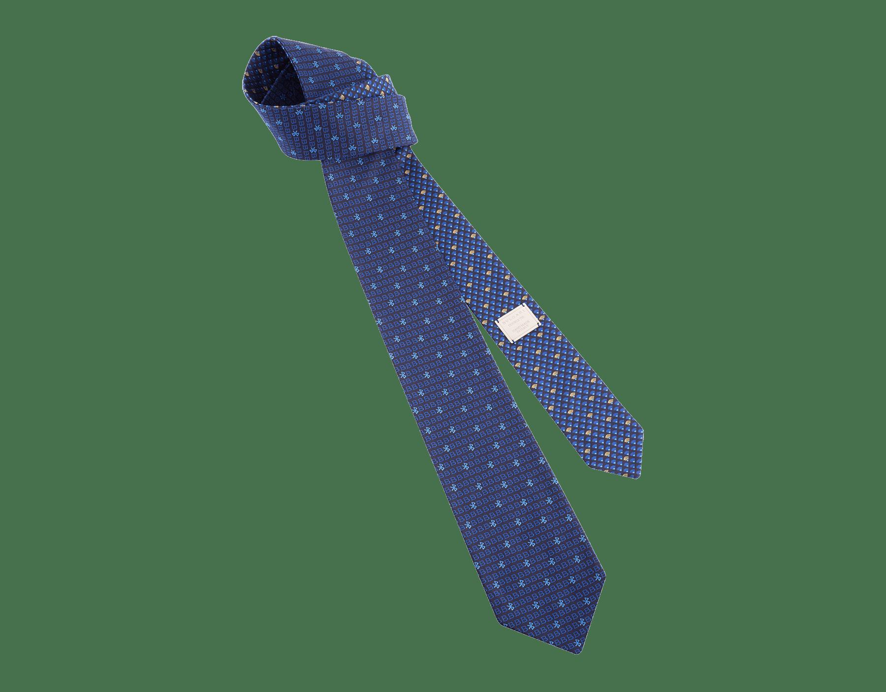 Corbata azul oscuro en seda de jacquard fina Double BLVTech. 244555 image 1