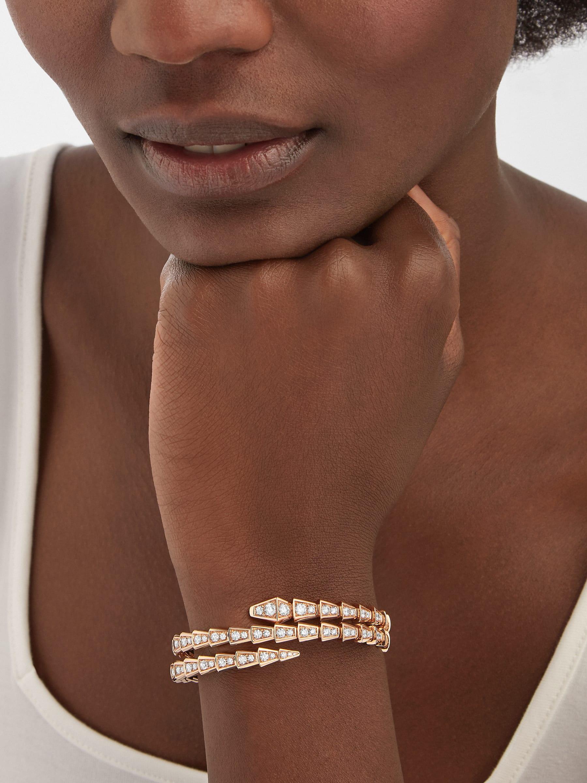 Bracelet deux tours Serpenti Viper en or rose 18K avec pavé diamants BR858796 image 1