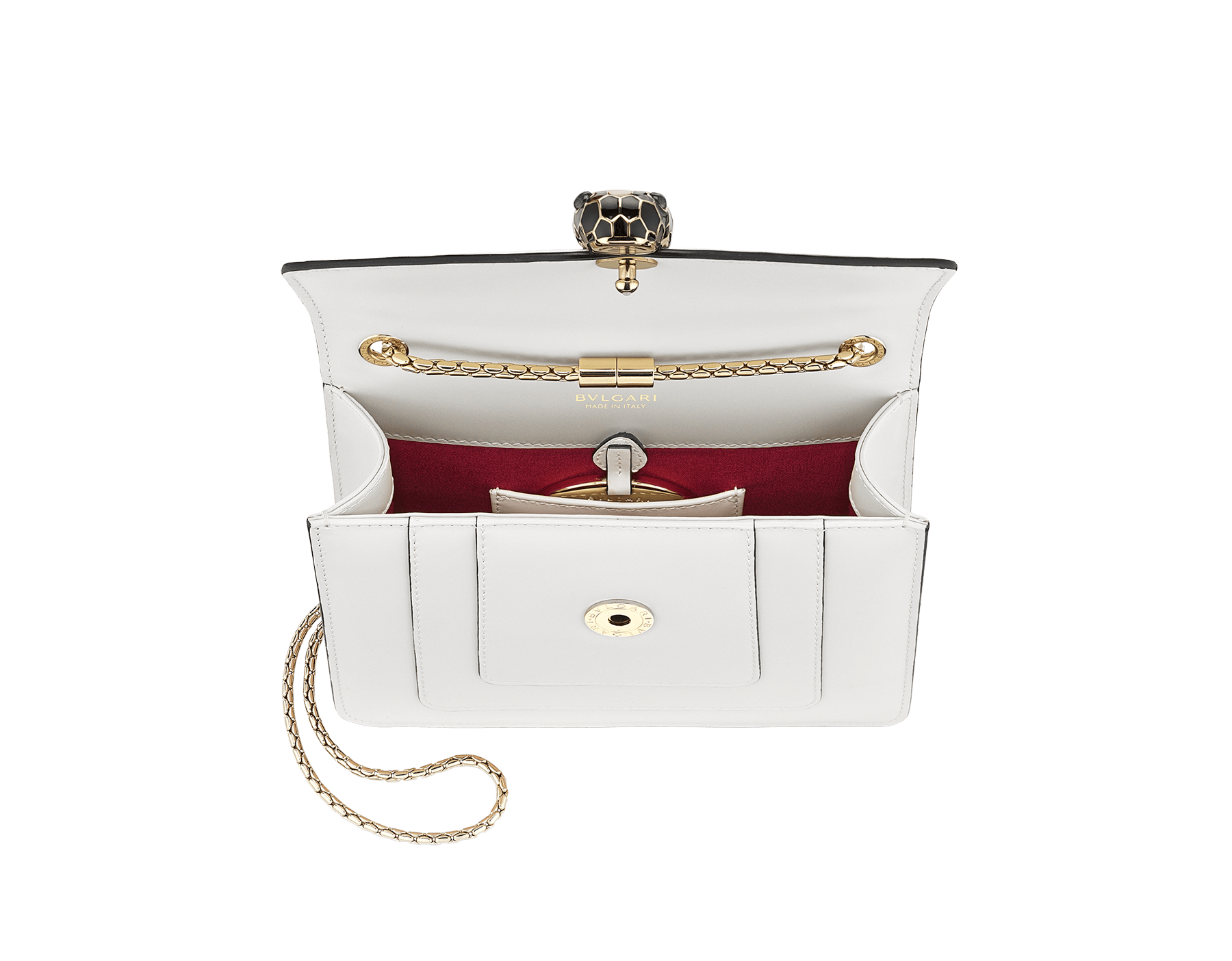 """""""Serpenti Forever"""" crossbody bag in emerald green calf leather with amethyst purple gros grain internal lining. Iconic snakehead closure in light gold plated brass enriched with black and white agate enamel, and green malachite eyes. 422-CLa image 4"""