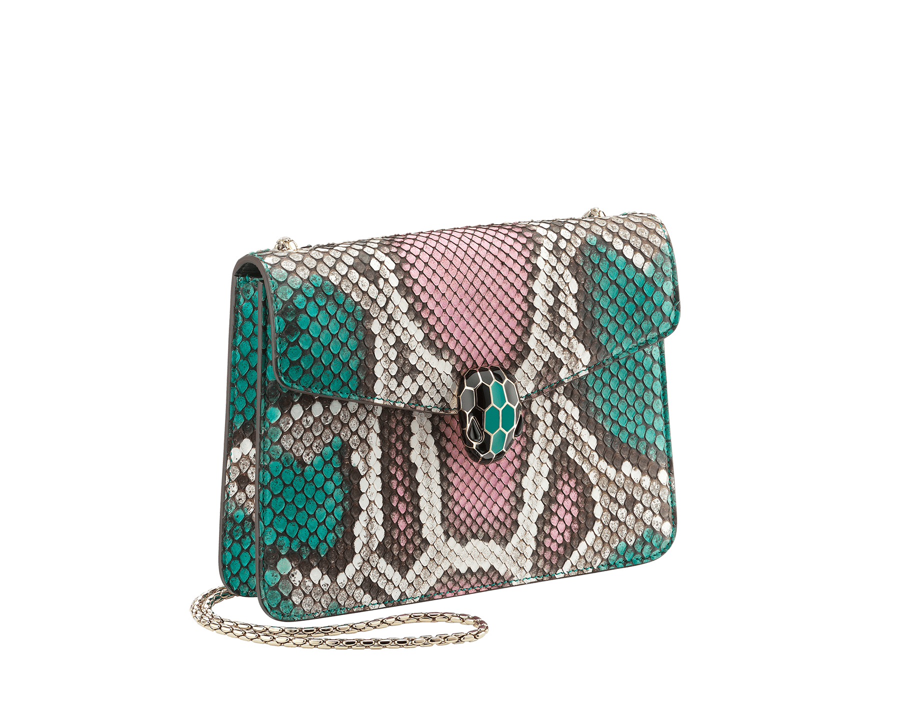 """""""Serpenti Forever"""" crossbody bag in multicolour """"Magic Chromaline"""" python skin. Iconic snakehead closure in light gold plated brass enriched with black and white enamel and black onyx eyes. 422-Pc image 2"""