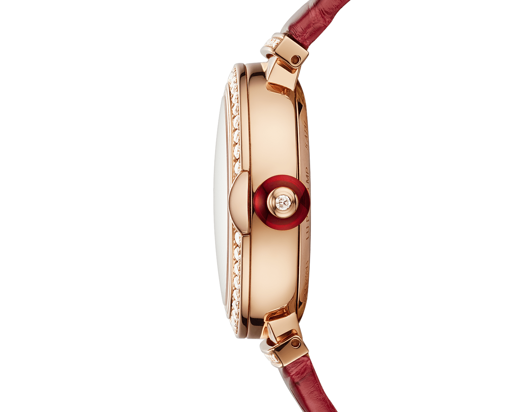 LVCEA Skeleton watch with mechanical manufacture movement, automatic winding, 18 kt rose gold case set with diamonds, openwork BVLGARI logo dial set with diamonds and red alligator bracelet 102833 image 3