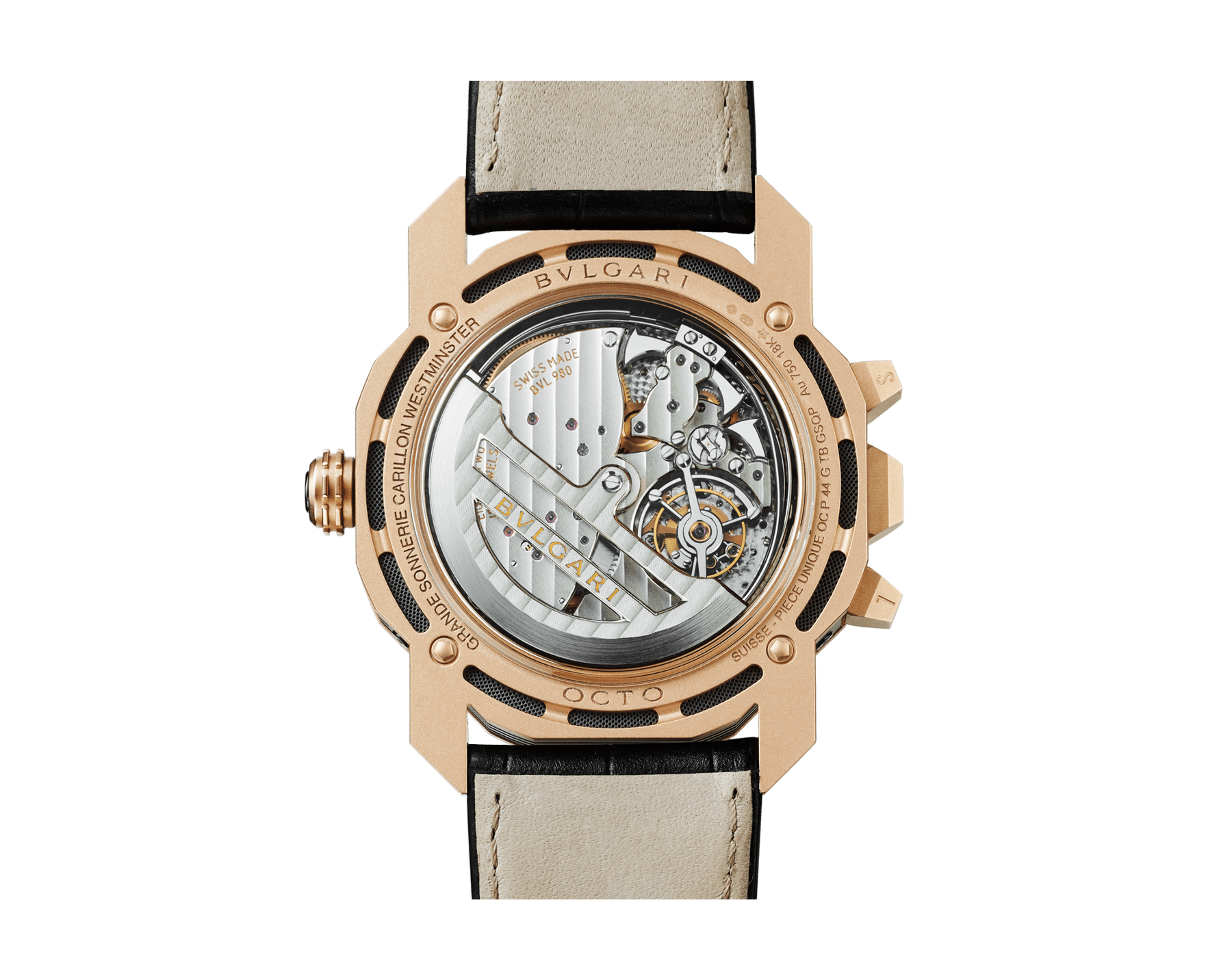 Octo Grande Sonnerie watch with mechanical manufacture movement, Grande and Petite Sonnerie, minute repeater, tourbillon, perpetual calendar, moonphases, movement and chime power reserve indicator, 18 kt rose gold sandblasted case, skeletonized dial and black alligator bracelet 102891 image 4