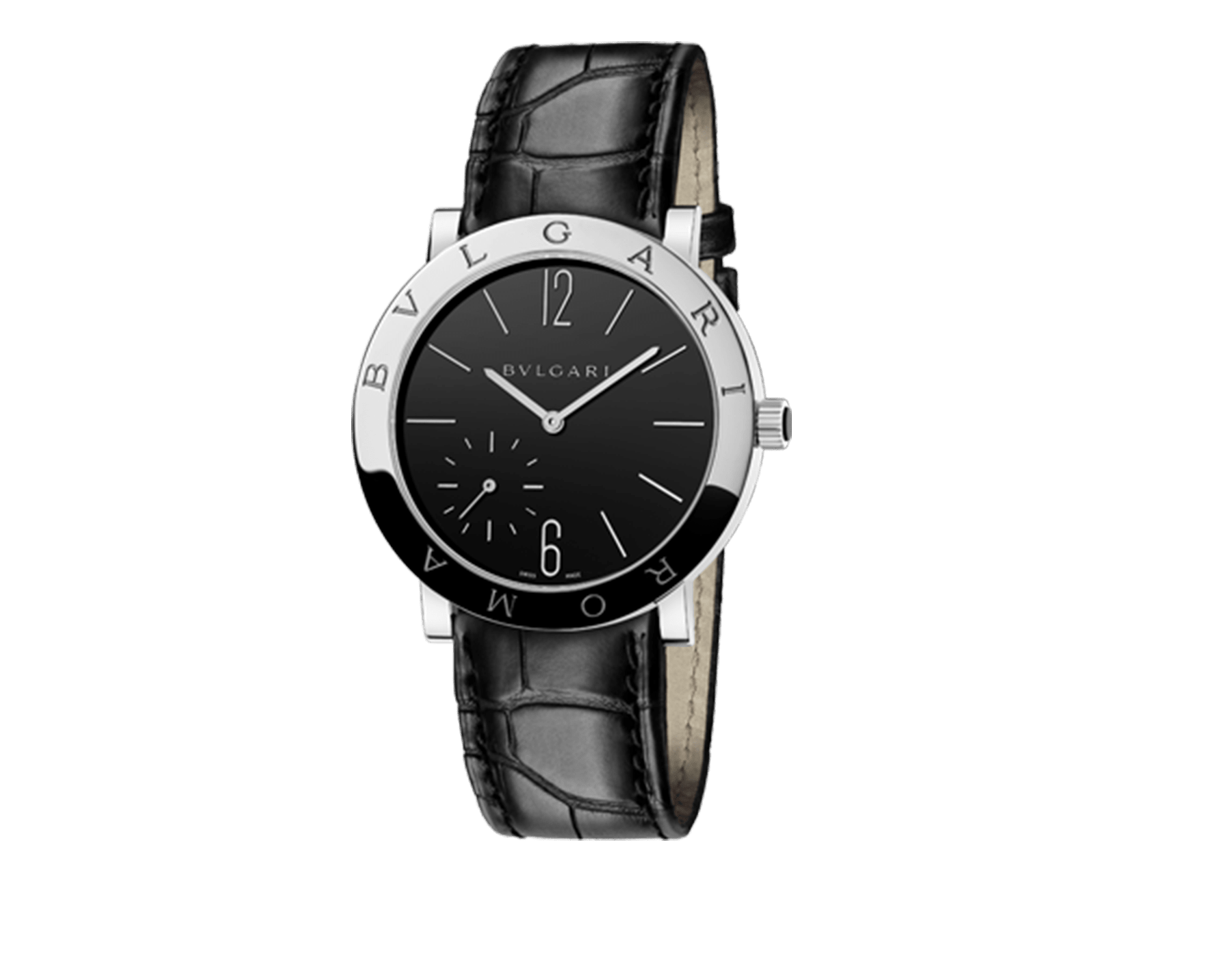 BVLGARI ROMA Finissimo watch with mechanical manufacture movement, manual winding, small seconds, stainless steel case, black lacquered dial and black alligator bracelet 102357 image 1