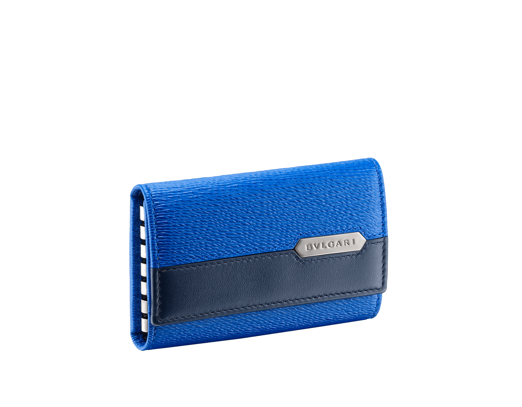 Serpenti Scaglie men's key holder in cobalt tourmaline grazed calf leather and denim sapphire calf leather. Bvlgari logo engraved on the hexagonal scaglie metal plate finished in dark ruthenium. 288459 image 1