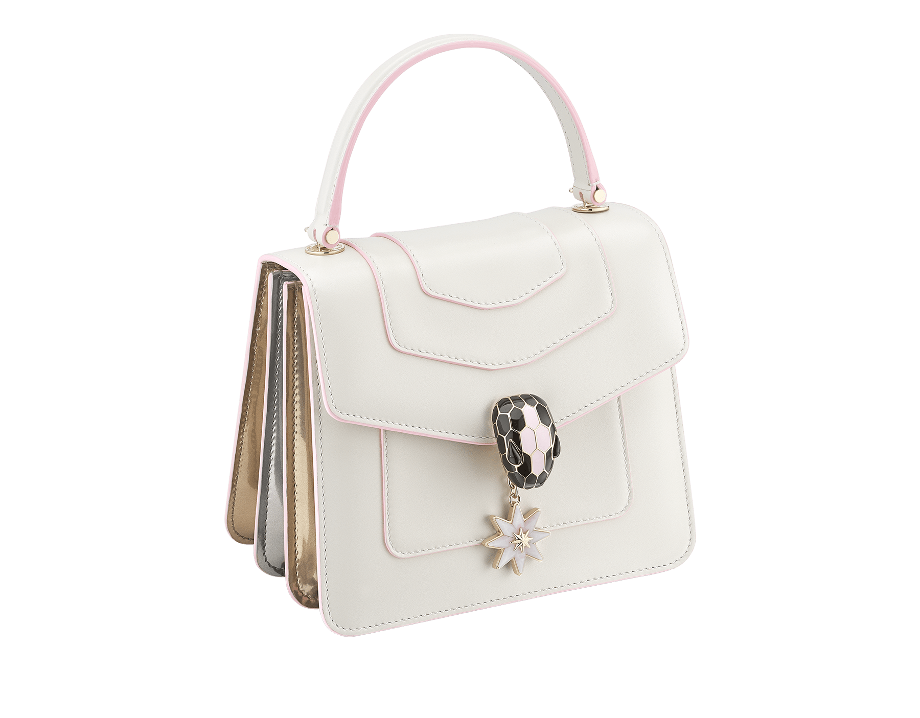 Serpenti Forever Holiday Season crossbody bag in white agate calf leather, bronze and silver brushed metallic calf leather. Snakehead closure in light gold plated brass embellished with black and sakura pink enamel, black onyx eyes and a pink opal eight-pointed star charm. 289372 image 2