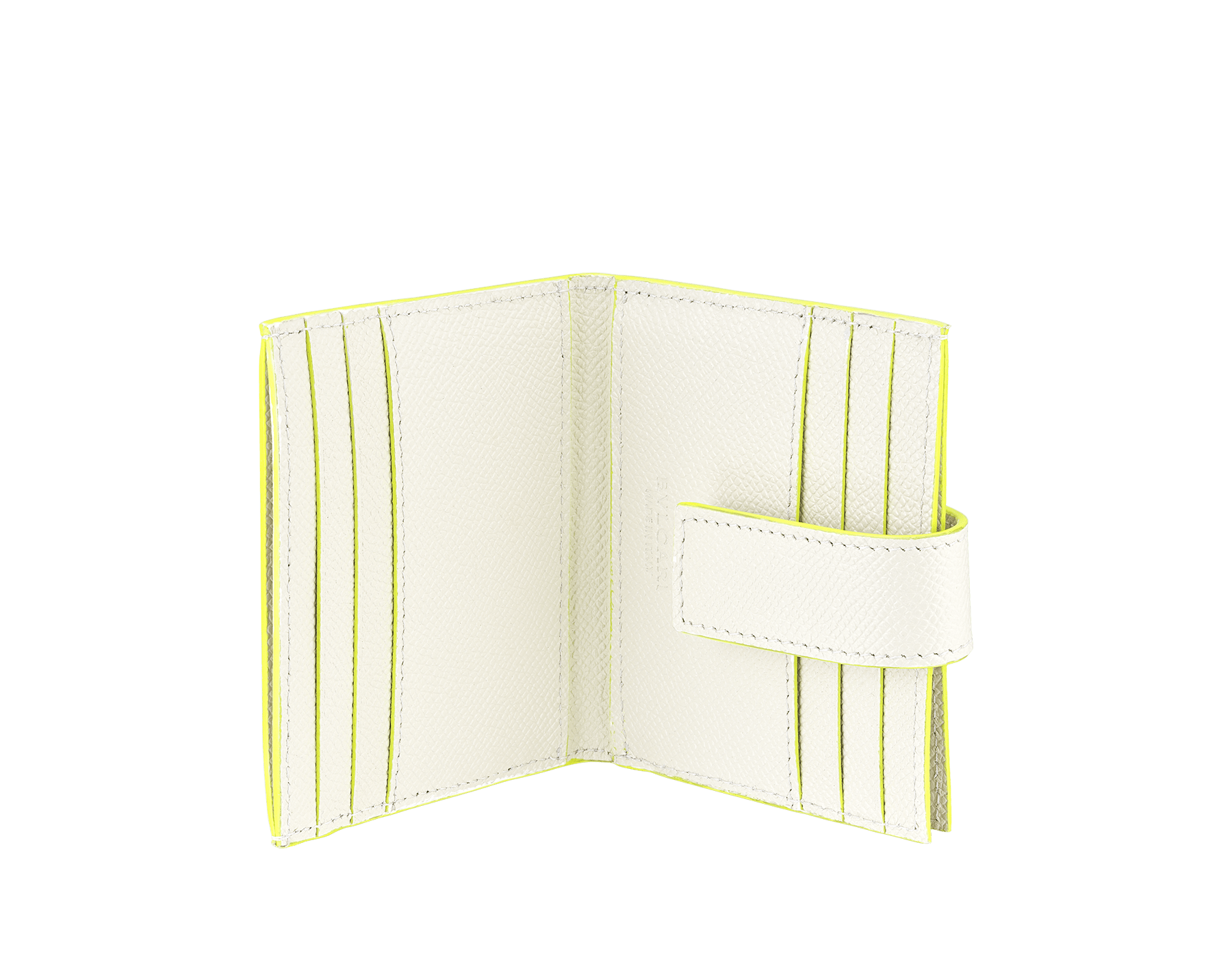 BVLGARI x FRAGMENT by Hiroshi Fujiwara ビジネスカードホルダー。ホワイトと蛍光イエローのグレインカーフレザー製。特別なBVLGARI FRGMTのブラックロゴプリント。 289527 image 2