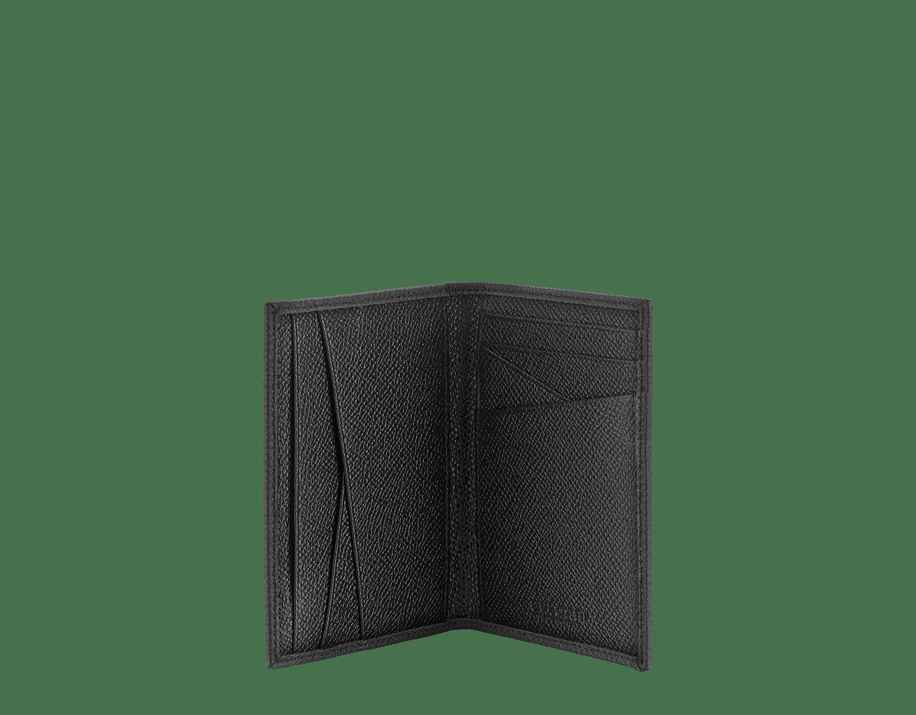 """BVLGARI BVLGARI MAN"" folded card holder in capri turquoise and royal sapphire grain calf leather with brass palladium plated BVLGARI BVLGARI motif. BBM-VERTICALCCHgcl image 2"