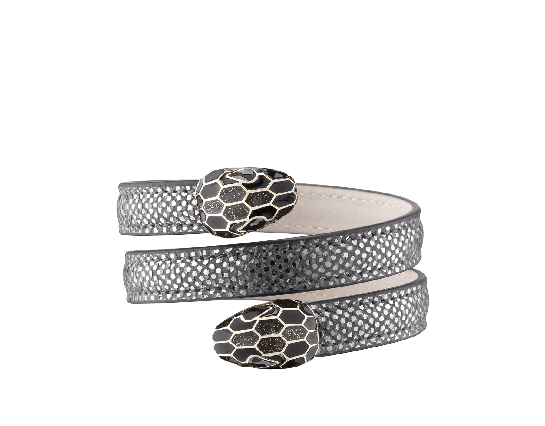 Serpenti Forever multi-coiled rigid Cleopatra bracelet in charcoal diamond metallic karung skin, with brass light gold plated hardware. Iconic double snakehead décor in black and glitter charcoal diamond enamel, with black enamel eyes. Cleopatra-MK-CD image 1