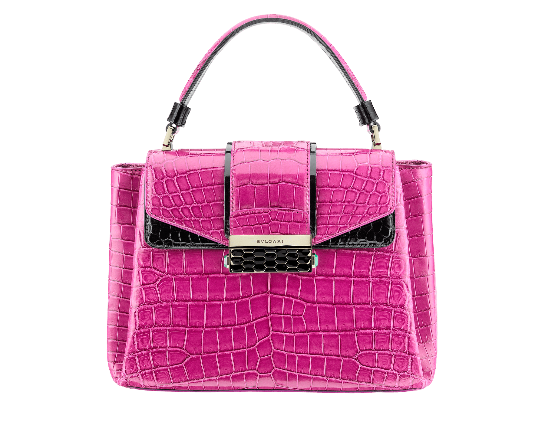 Top handle bag Serpenti Viper in raspberry agate and black shiny crocodile skin. Brass light gold plated hardware and snap closure in black shiny enamel with iconic Scaglie design and lateral push buttons in green malachite stones. One front compartment with internal flap cover, one zipped pocket and one open pocket in the central compartment, one back open compartment. Internal metal tag featuring the Bulgari logo. Adjustable and removable shoulder strap Small size. 27 x 20 x 11 cm. - 10.6 x 7.8 x 4.3 281722 image 1