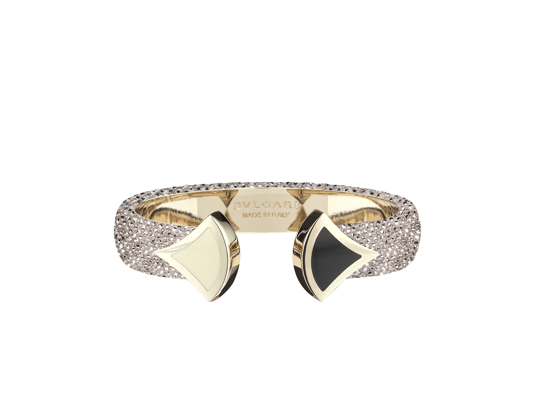 Bracelet in royal sapphire galuchat skin, with iconic contraire brass light gold plated DIVAS' DREAM motif in black and white enamel. DIVA-CONTRAIR-M image 3