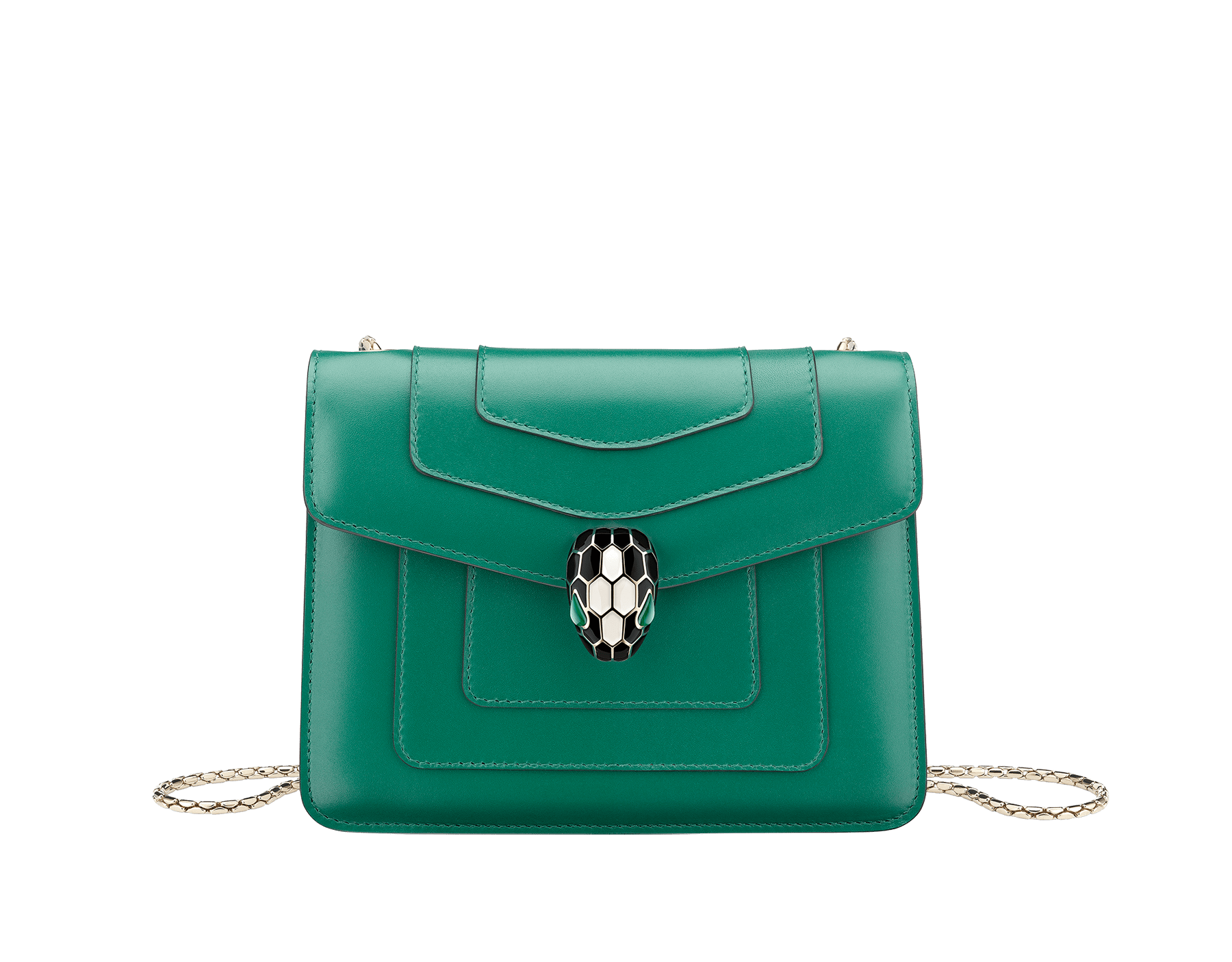 """Serpenti Forever"" crossbody bag in emerald-green calfskin with amethyst-purple grosgrain inner lining. Iconic snakehead closure in light gold-plated brass embellished with black and agate-white enamel and green malachite eyes. 422-CLa image 1"