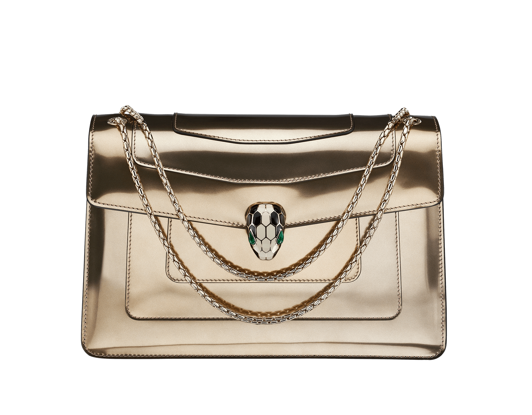 Flap cover bag Serpenti Forever in antique bronze brushed metallic calf leather with brass light gold plated Serpenti head closure in black and white enamel with eyes in green malachite. 39794 image 1
