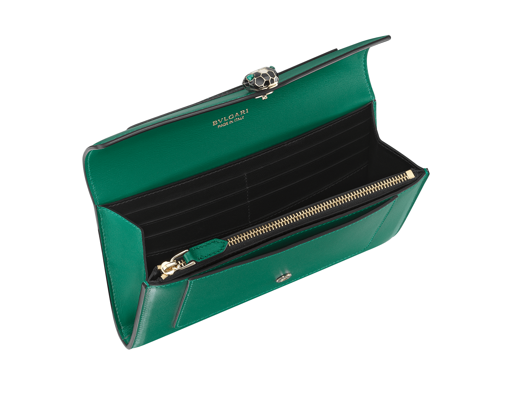 "New ""Serpenti Forever"" large wallet in soft emerald-green calfskin and black nappa leather. Iconic snakehead closure in light gold-plated brass with black and agate-white enamel and green malachite eyes. SEA-LONGWLT image 2"
