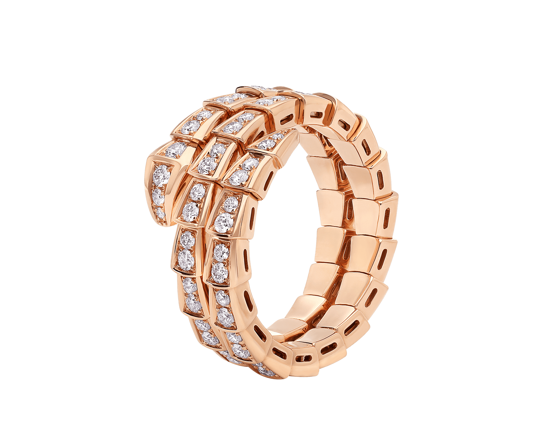 Serpenti Viper two-coil 18 kt rose gold ring, set with pavé diamonds AN858794 image 1