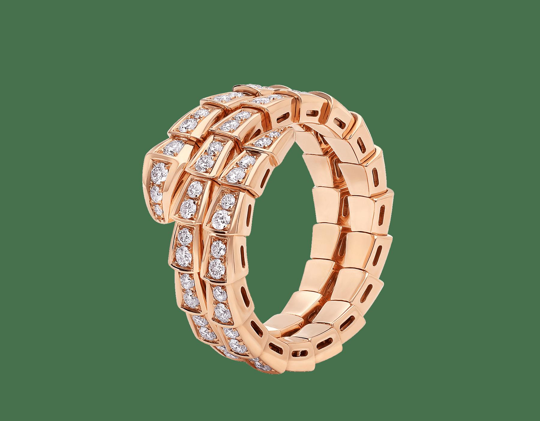 Кольцо Serpenti Viper в два витка, розовое золото 18 карат, бриллиантовое паве AN858794 image 1