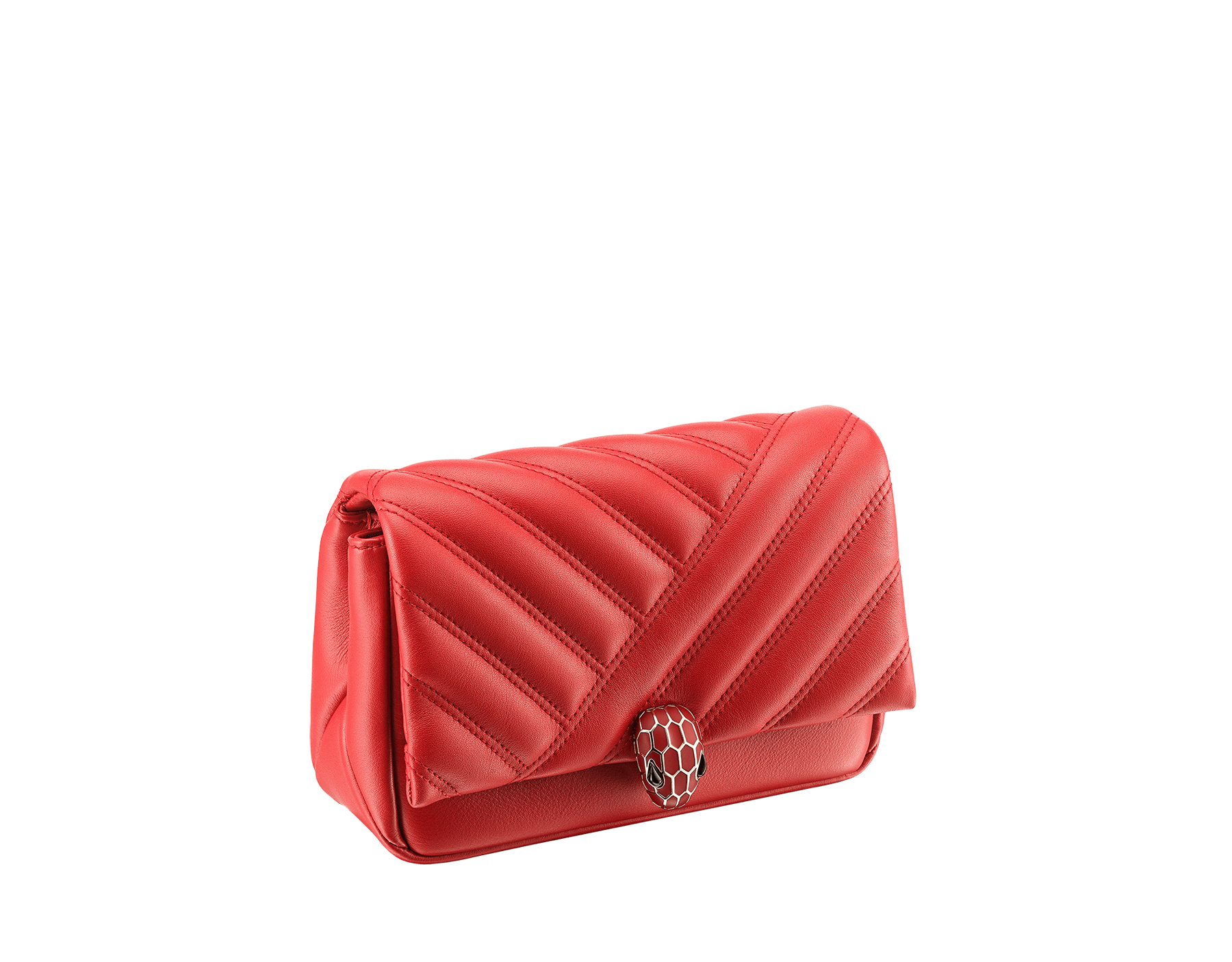 Serpenti Cabochon micro bag in soft matelassé carmine jasper calf leather, with a graphic motif. Brass light gold plated tempting snakehead closure in carmine jasper enamel and black onyx eyes. 288756 image 2