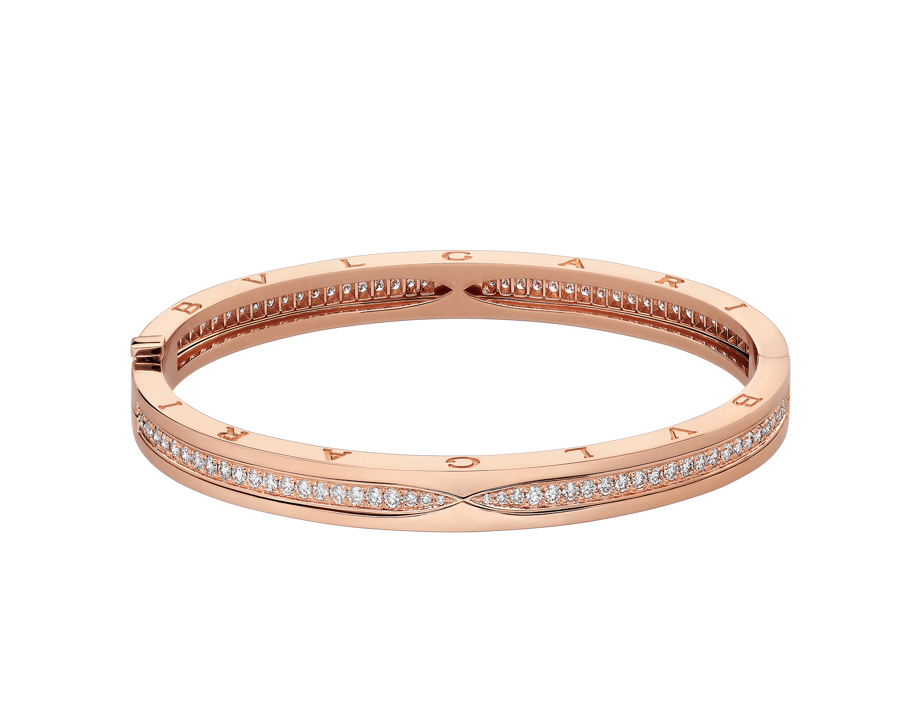 B.zero1 bangle bracelet in 18 kt rose gold, set with pavé diamonds on the spiral. BR857372 image 2
