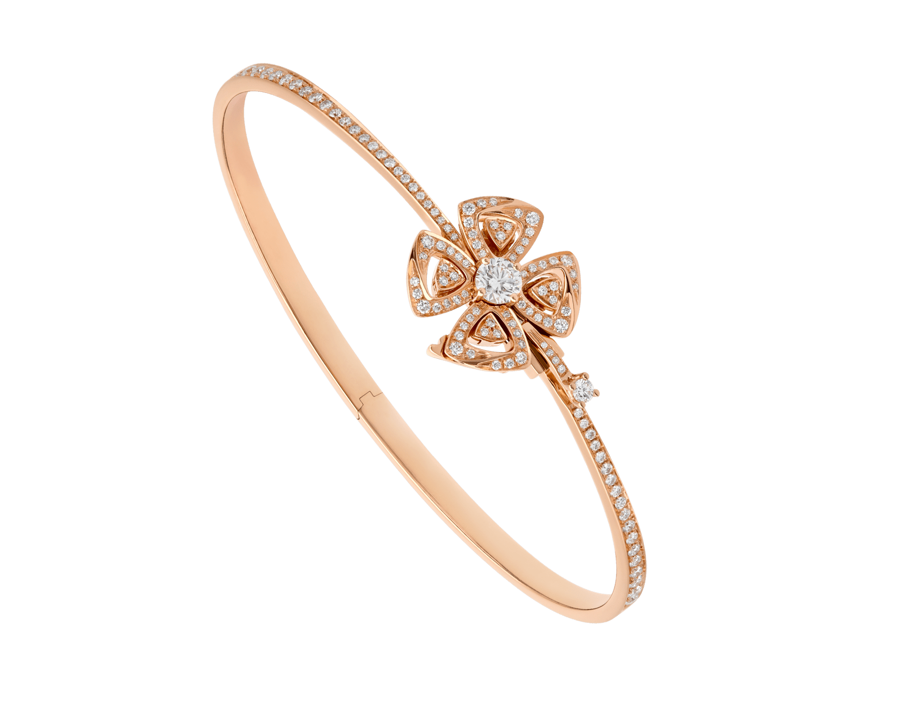 Bracelet Fiorever en or rose 18 K serti d'un diamant de centre (0,30 ct) et pavé diamants (0,63 ct) BR858707 image 1