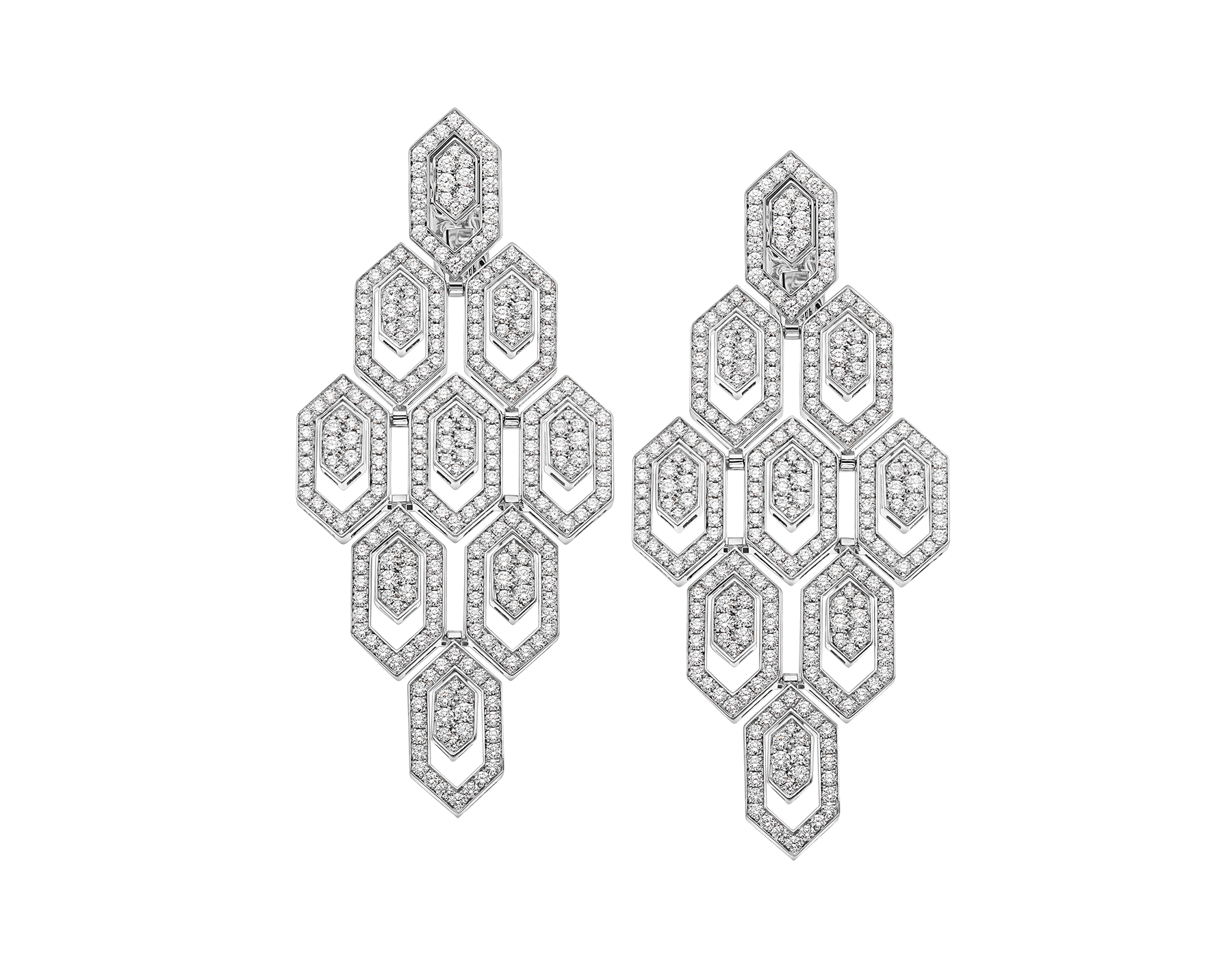 Serpenti earrings in 18 kt white gold, set with pavé diamonds. 353844 image 1
