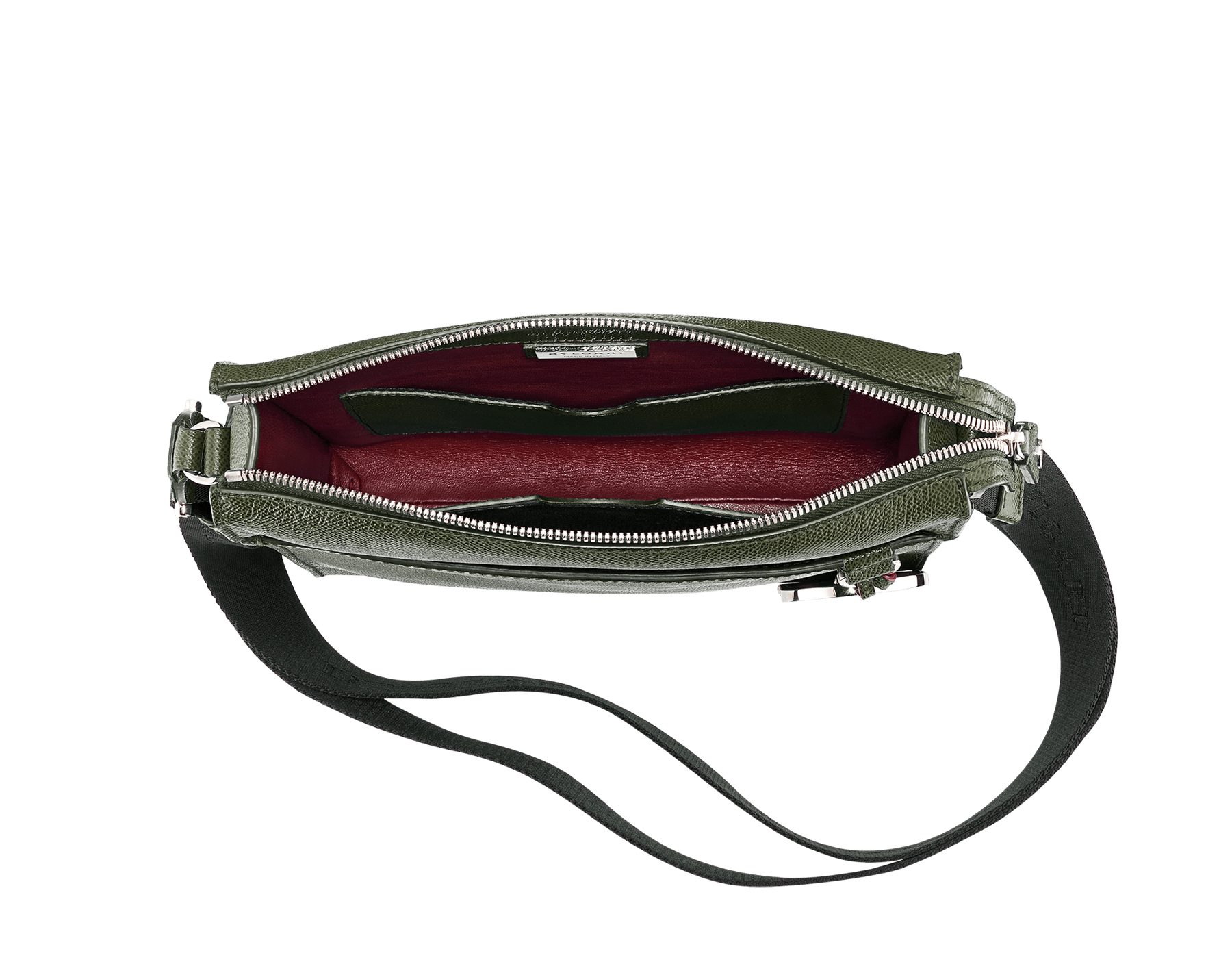 """BVLGARI BVLGARI"" zip-top messenger bag in mimetic jade grain calf leather with brass palladium plated hardware. BBM-001-0624S image 2"