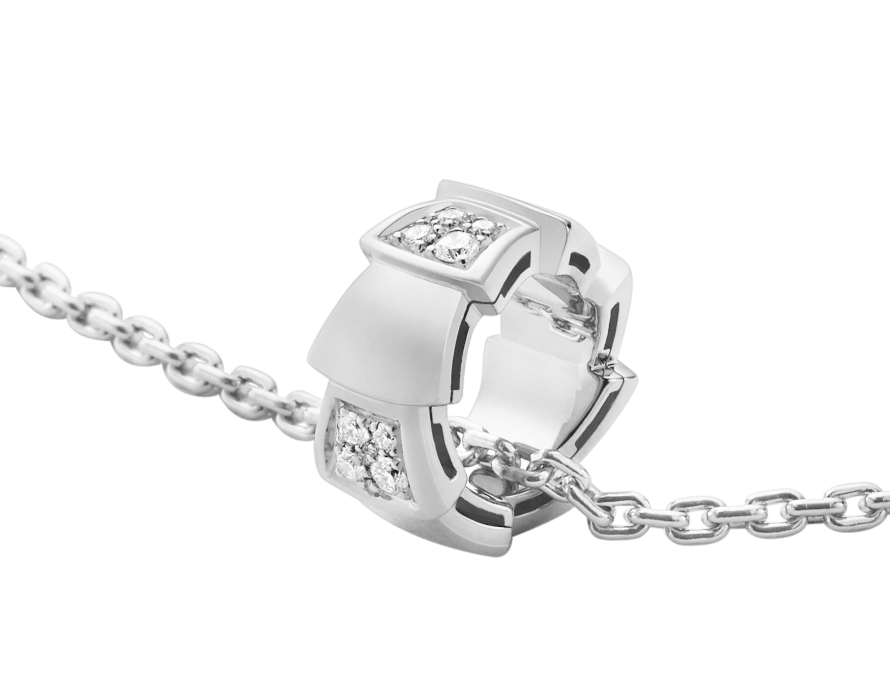 Serpenti Viper necklace with 18 kt white gold chain and 18 kt white gold pendant set with demi pavé diamonds.(0.21 ct) 355255 image 3