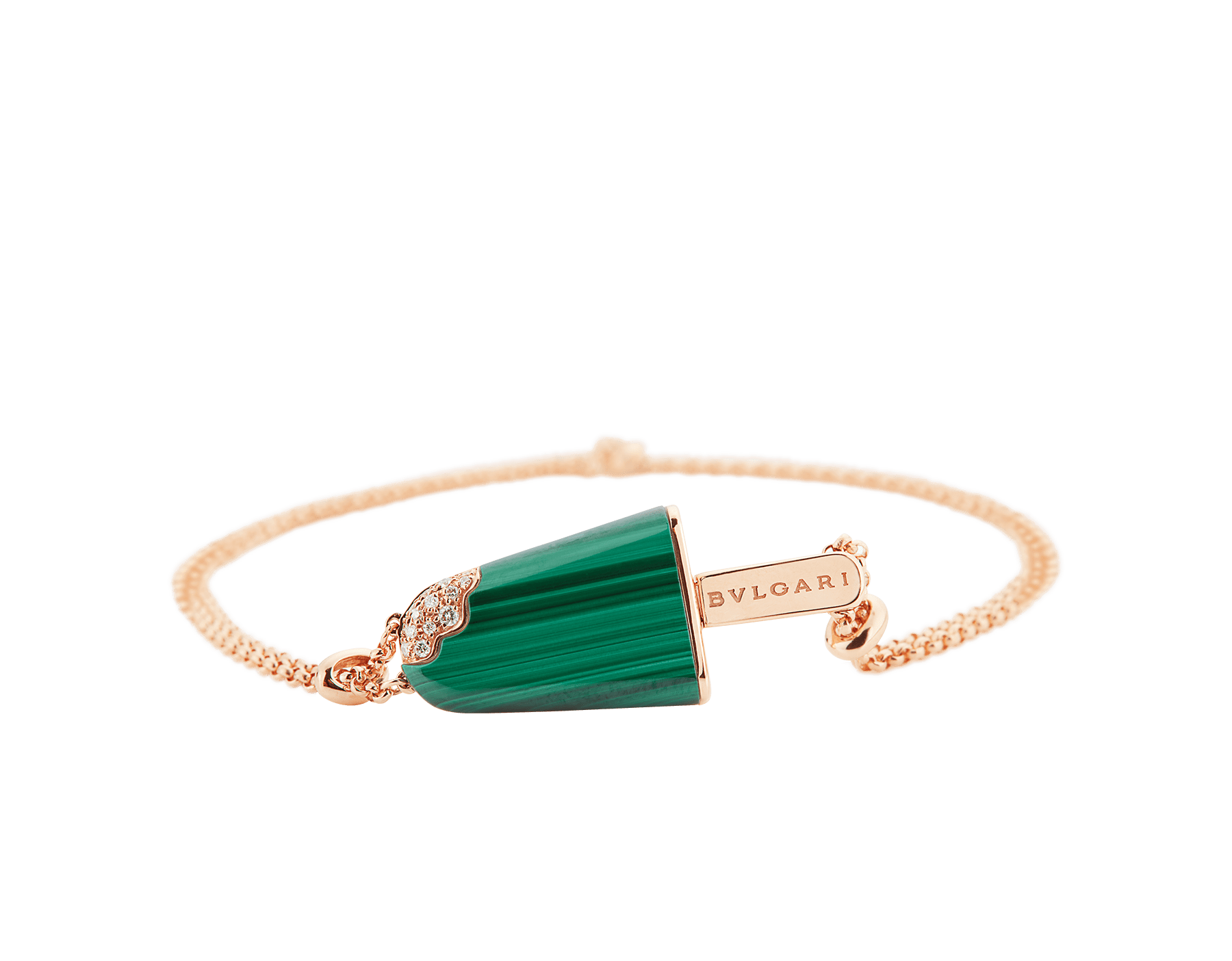 BVLGARI BVLGARI Gelati 18 kt rose gold soft bracelet set with malachite and pavé diamonds BR858327 image 3
