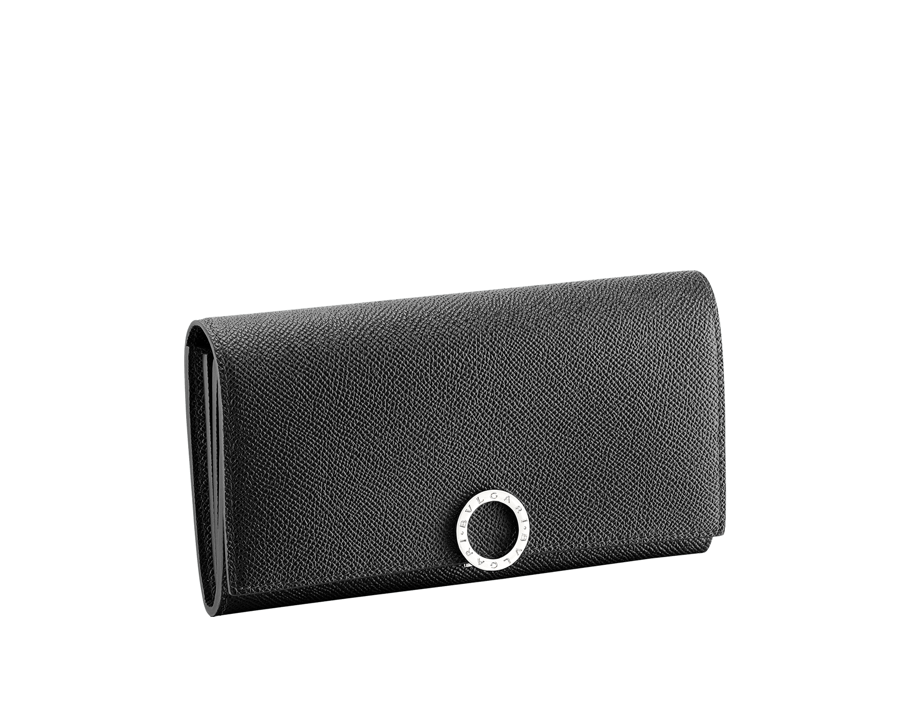 BVLGARI BVLGARI wallet pochette in black grain calf leather. Iconic logo clip closure in palladium plated brass. 289378 image 1
