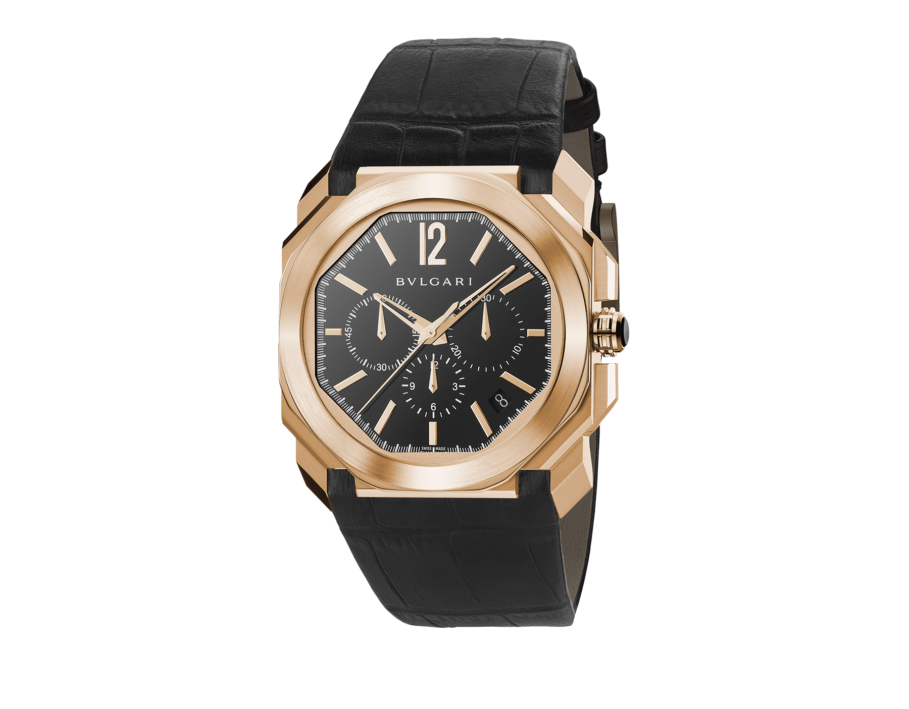 Octo watch with mechanical manufacture movement, high-frequency chronograph, automatic winding and date, 18 kt rose gold case, black lacquered dial and black alligator bracelet. 102115 image 1